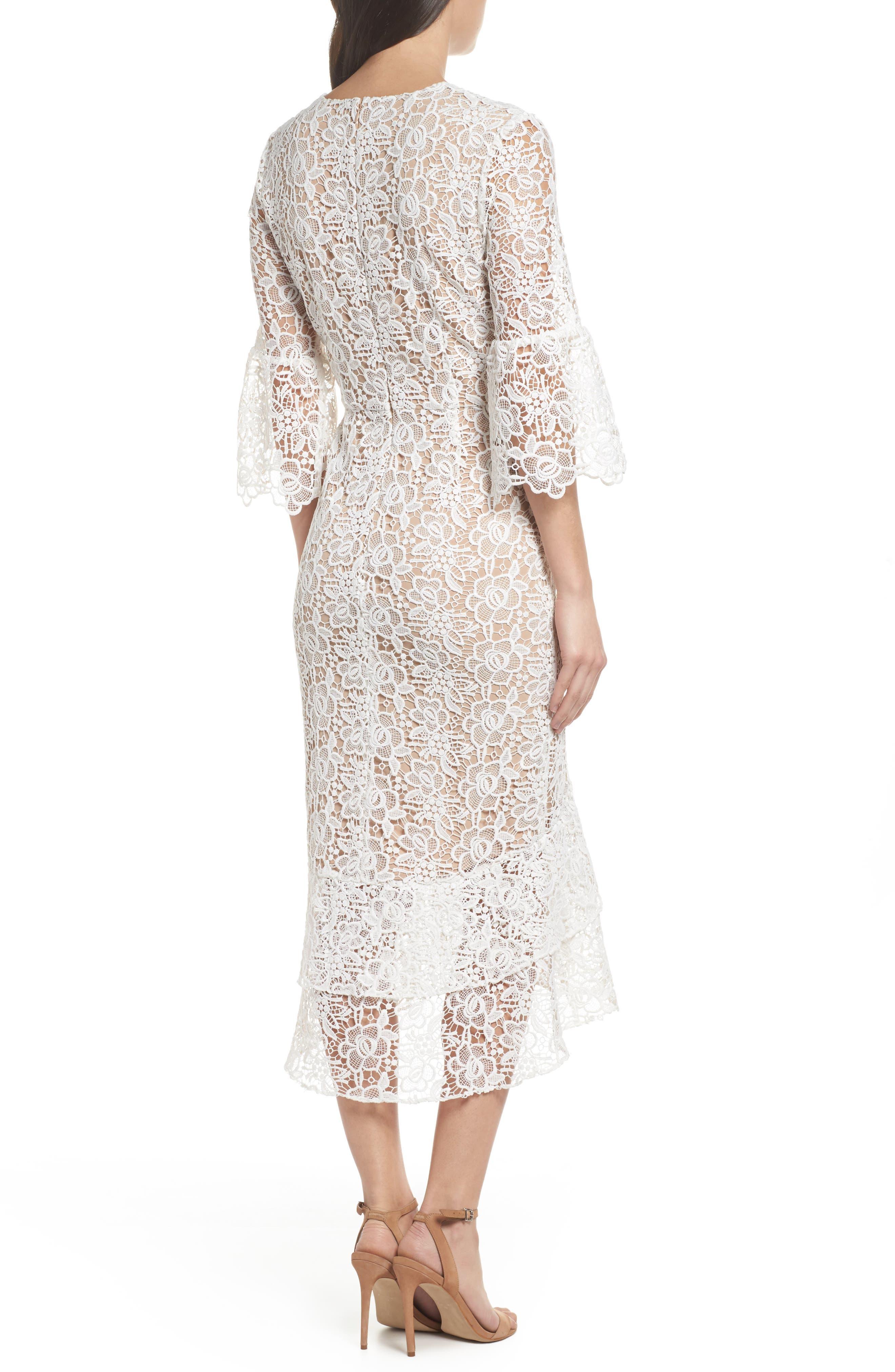 Ruffle Lace Midi Dress,                             Alternate thumbnail 2, color,                             100