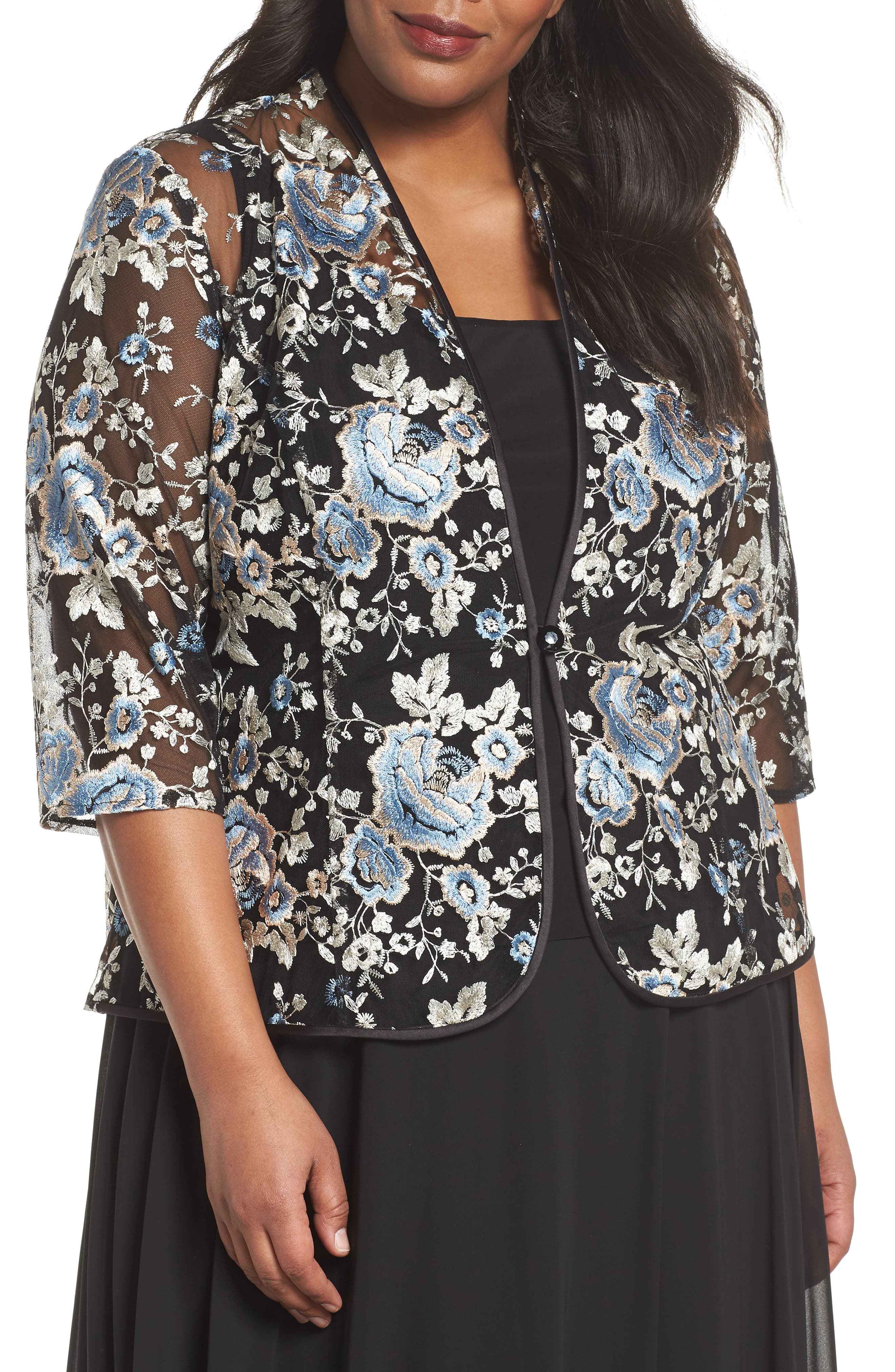 Floral Embroidered Twinset,                             Main thumbnail 1, color,                             BLUE MULTI