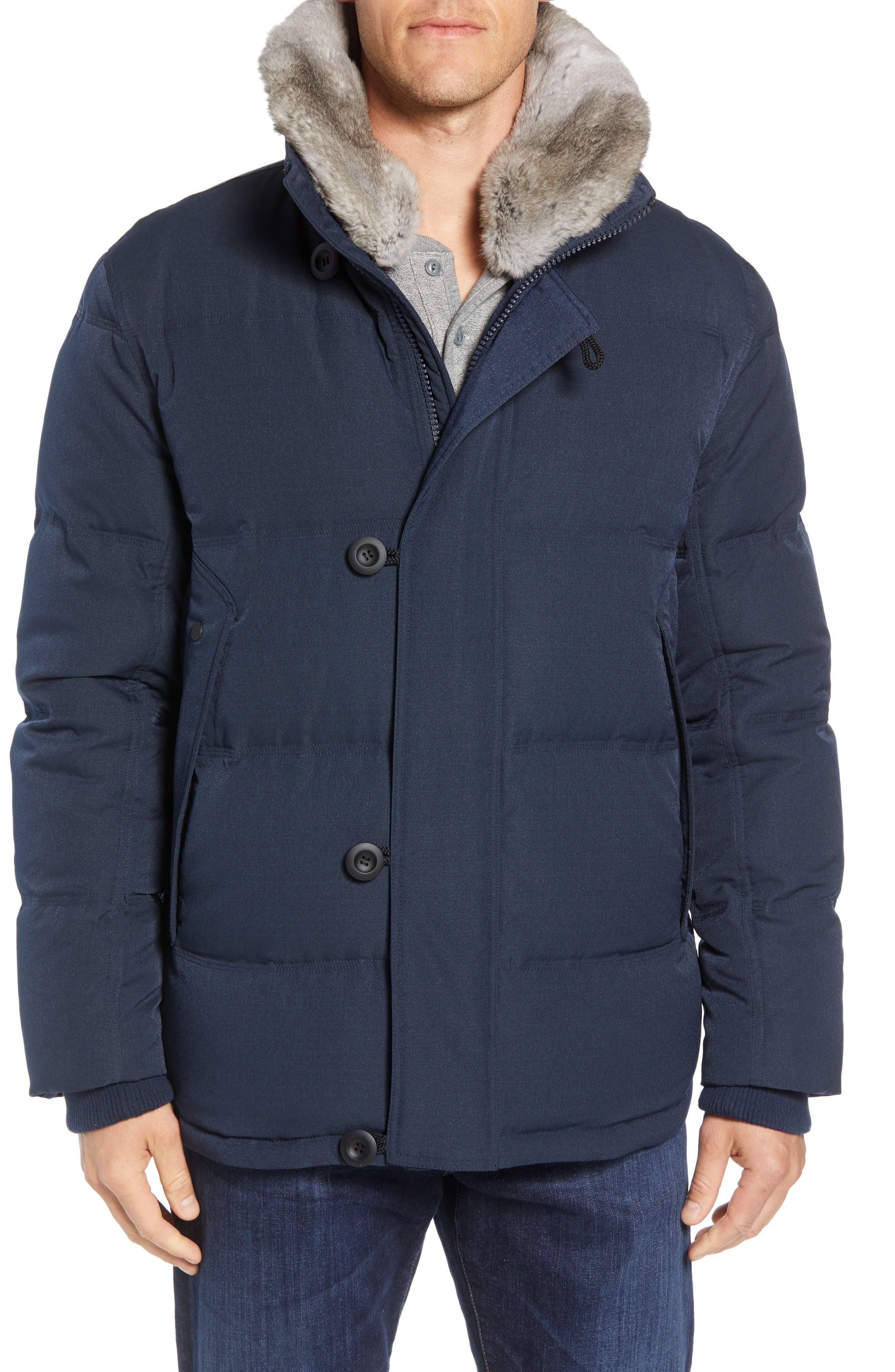 Andrew Marc Bryant Genuine Rabbit Fur Trim Down Jacket, Blue