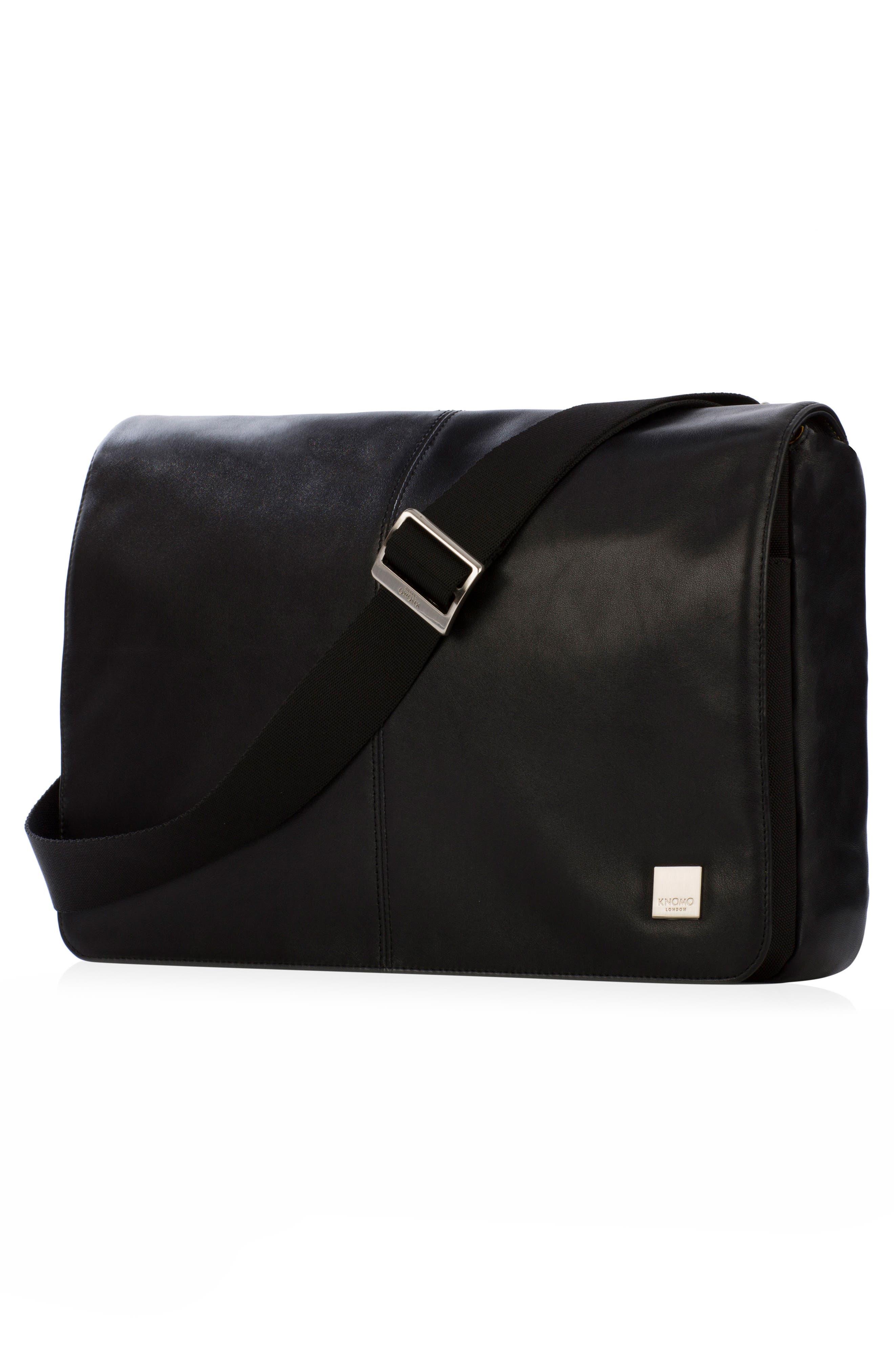 Brompton Kinsale RFID Leather Messenger Bag,                             Alternate thumbnail 4, color,                             001