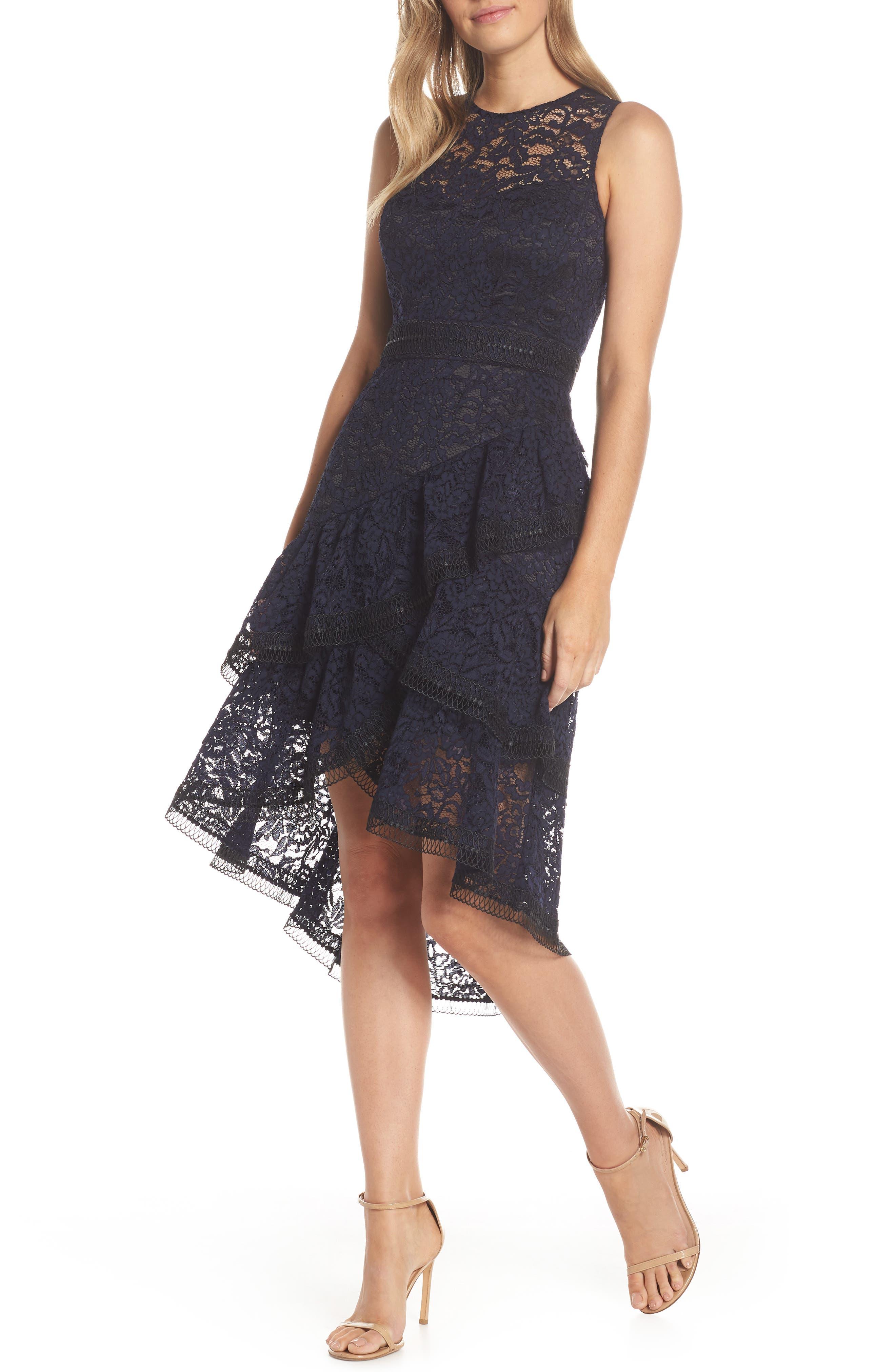 Eliza J Asymmetrical Tiered High/low Lace Dress, Blue