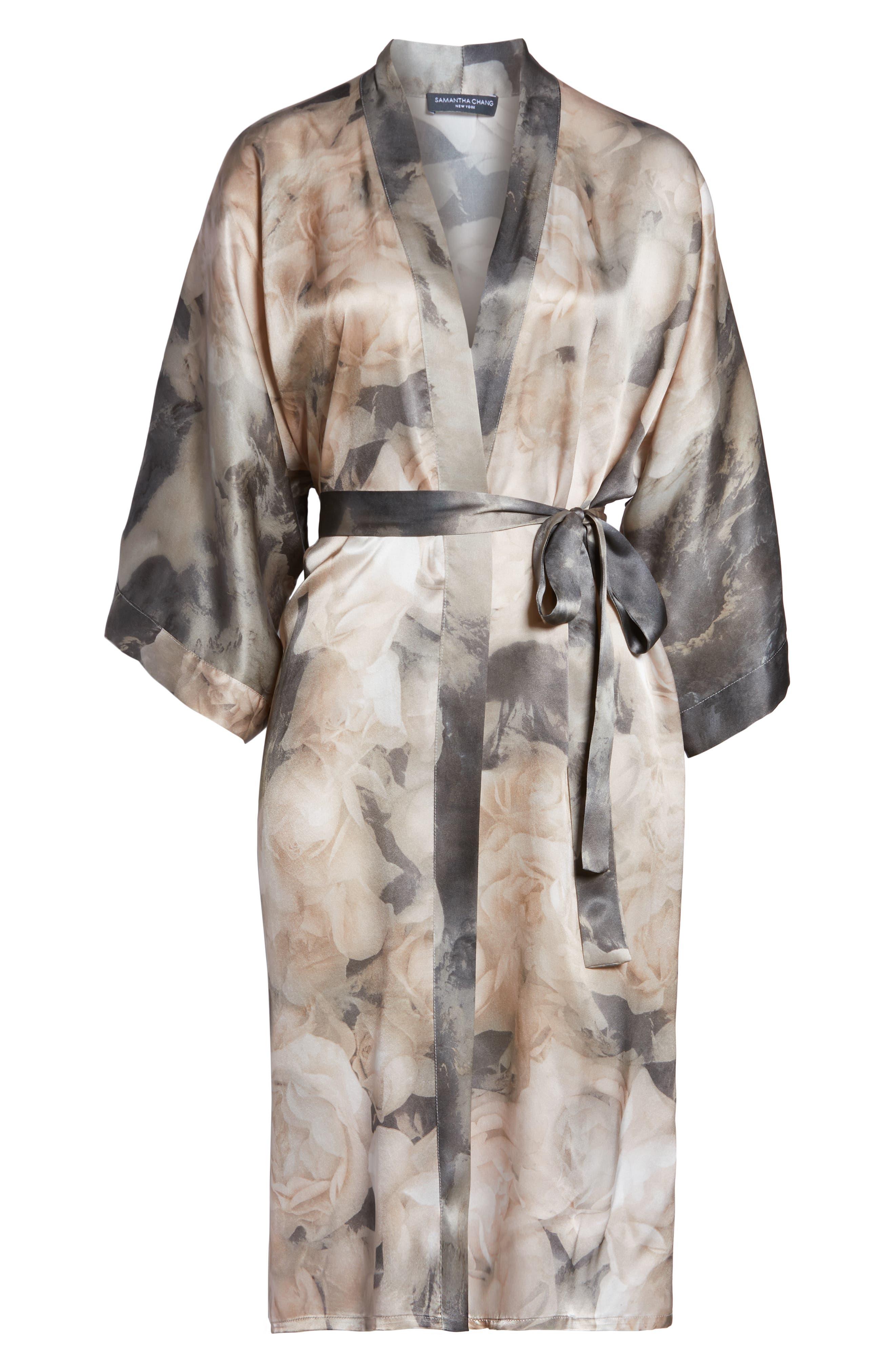 SAMANTHA CHANG,                             Silk Kimono,                             Alternate thumbnail 6, color,                             TENDER ROSE PRINT
