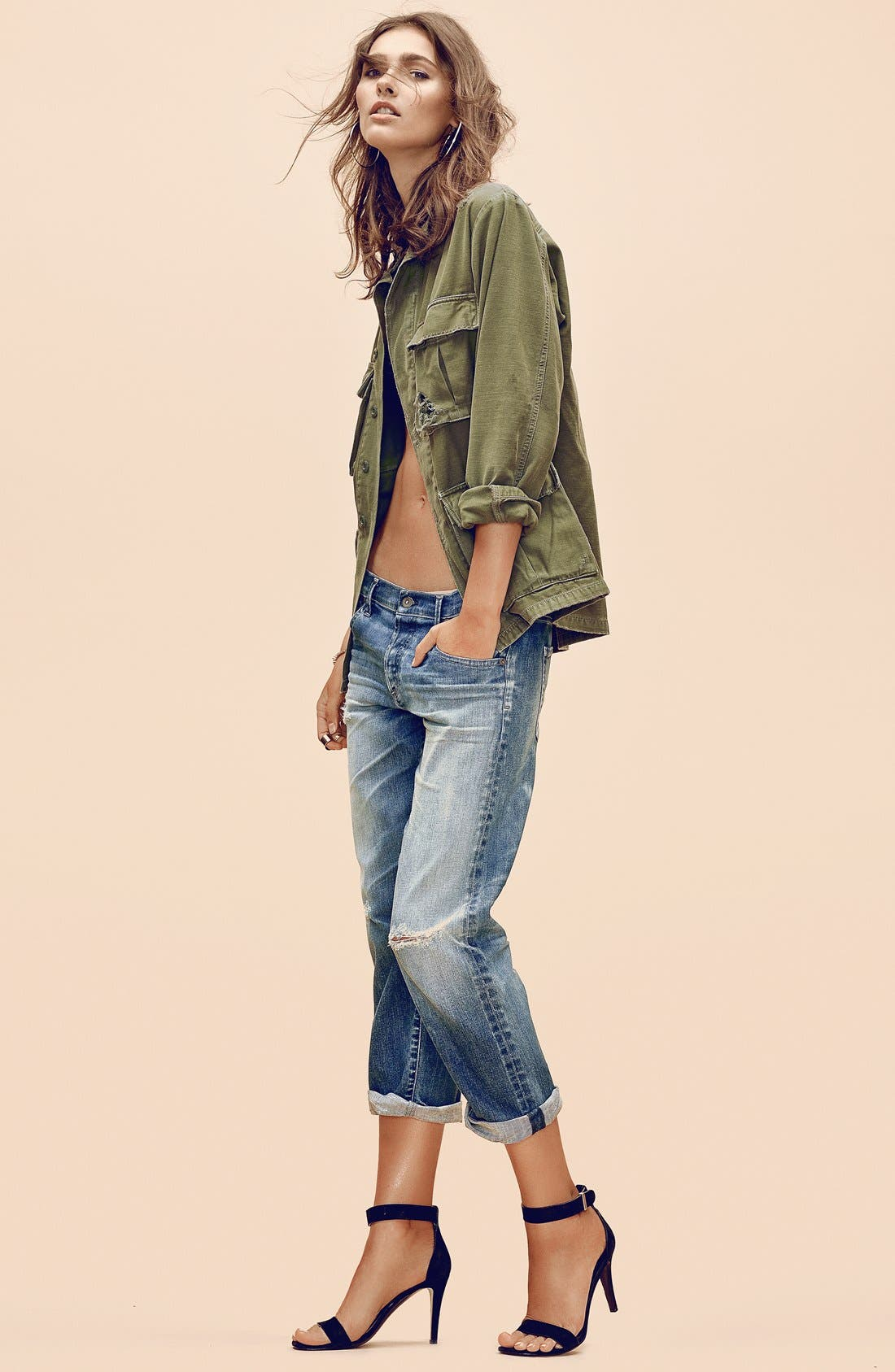 CITIZENS OF HUMANITY,                             'Kylie' Distressed Military Jacket,                             Alternate thumbnail 3, color,                             369