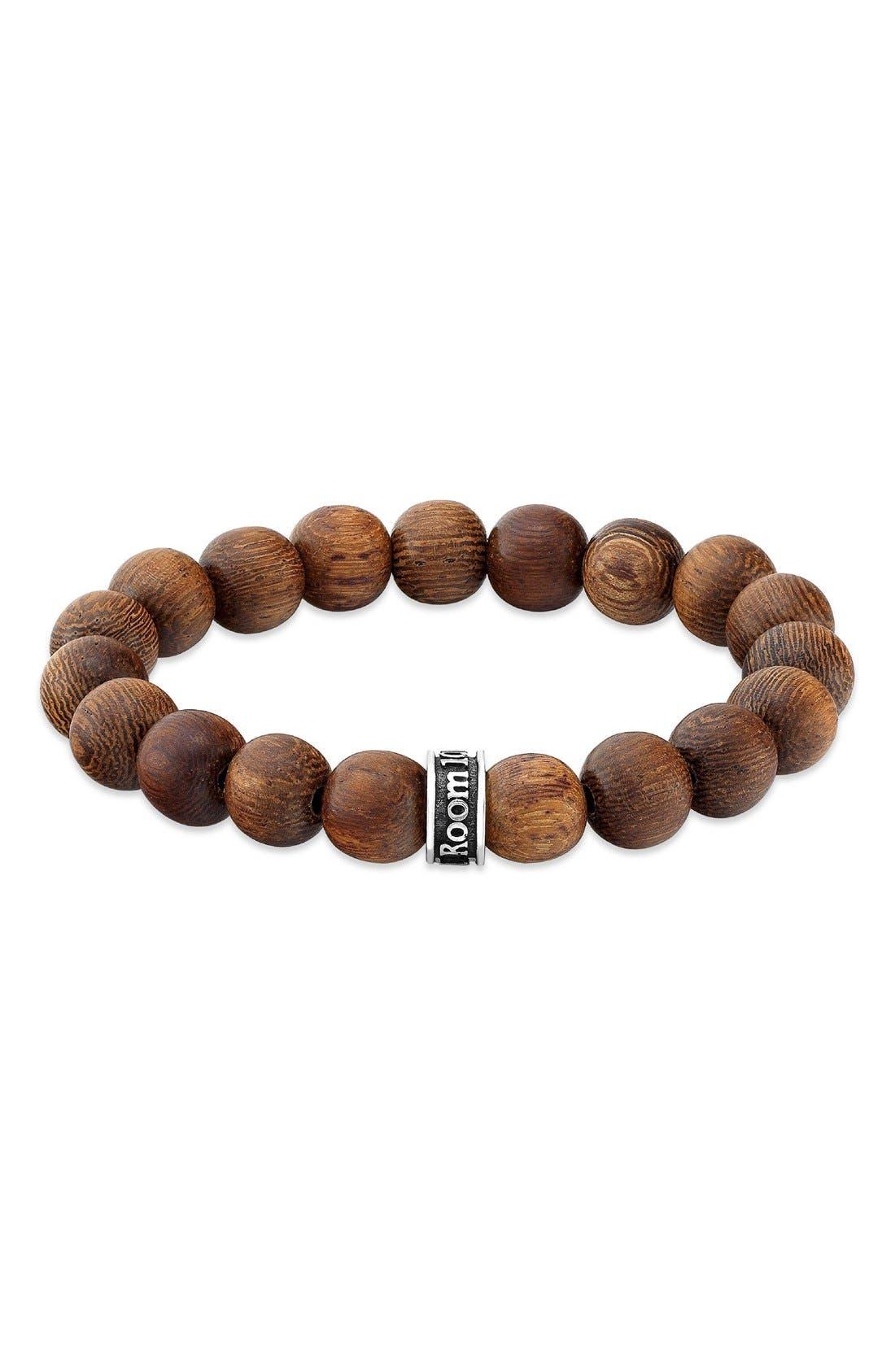 Wood Bead Bracelet,                             Main thumbnail 1, color,                             BROWN
