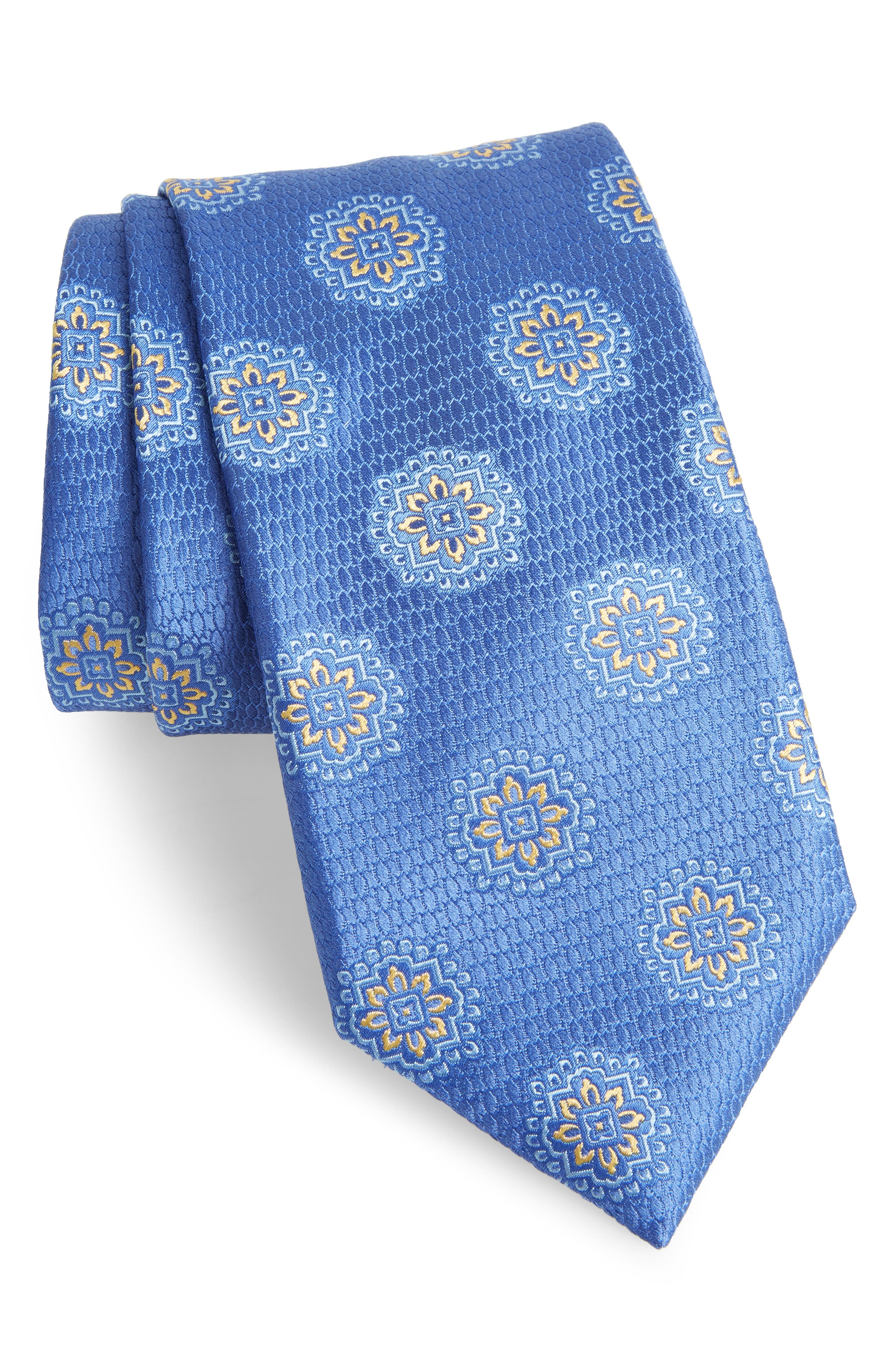 Medallion Silk Tie,                             Main thumbnail 1, color,                             LIGHT BLUE