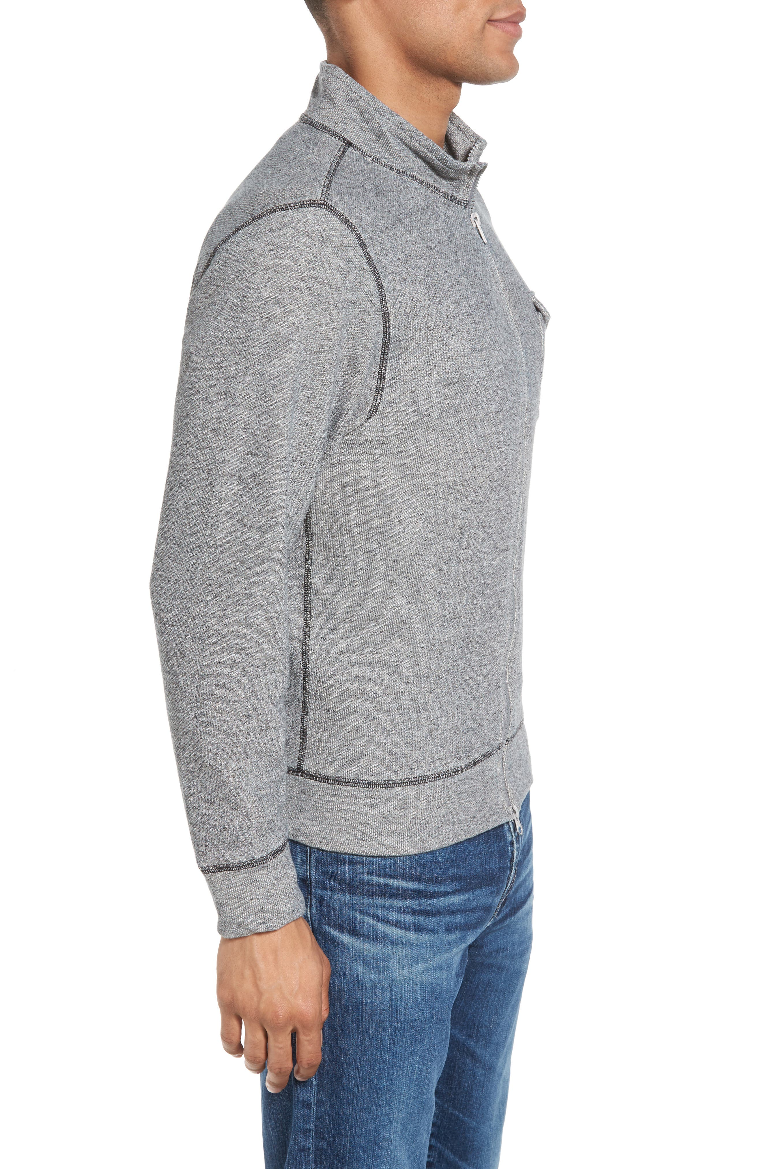 French Terry Zip Cardigan,                             Alternate thumbnail 3, color,                             020