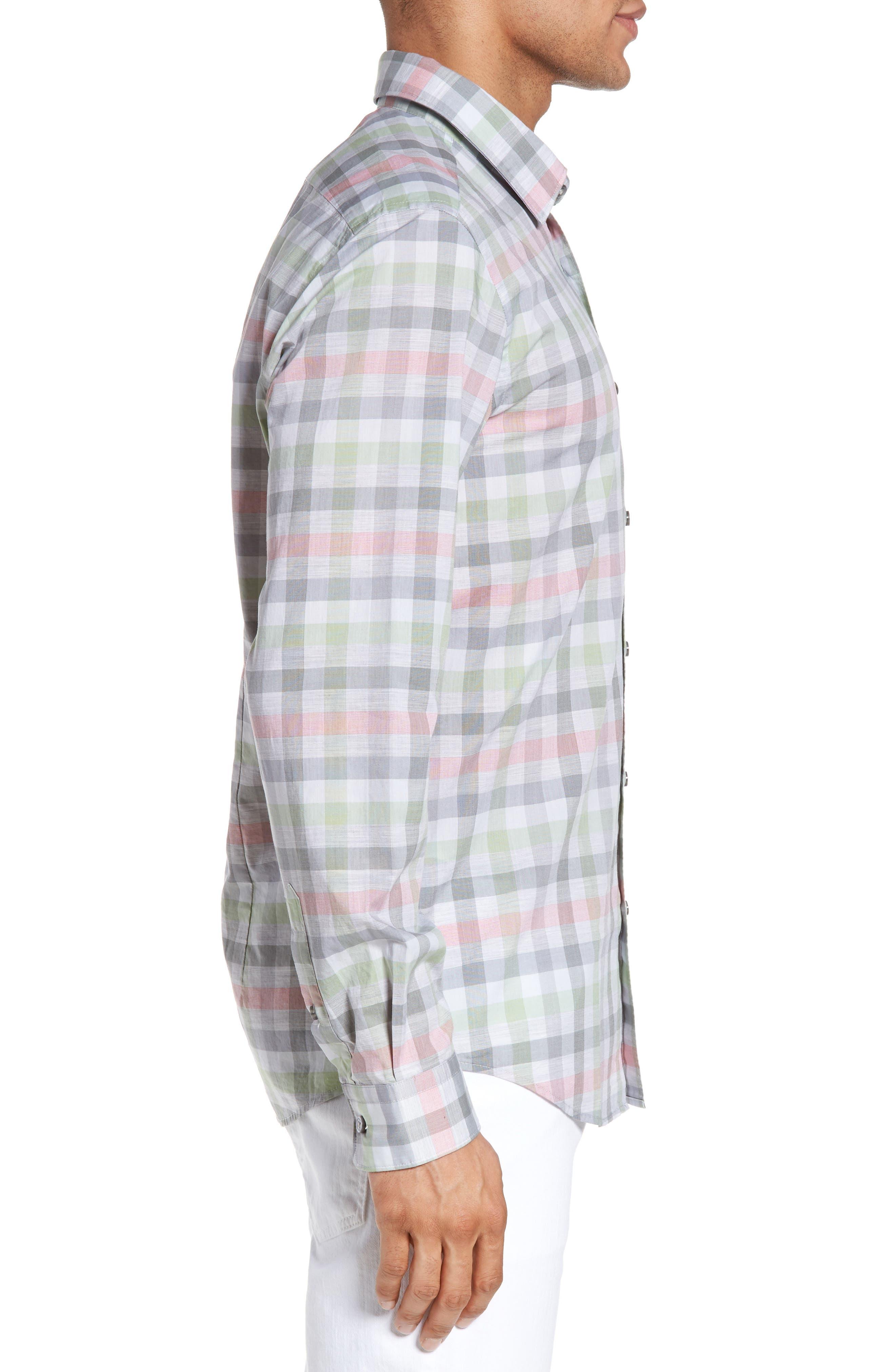 BOSS,                             Lukas Regular Fit Plaid Sport Shirt,                             Alternate thumbnail 3, color,                             302