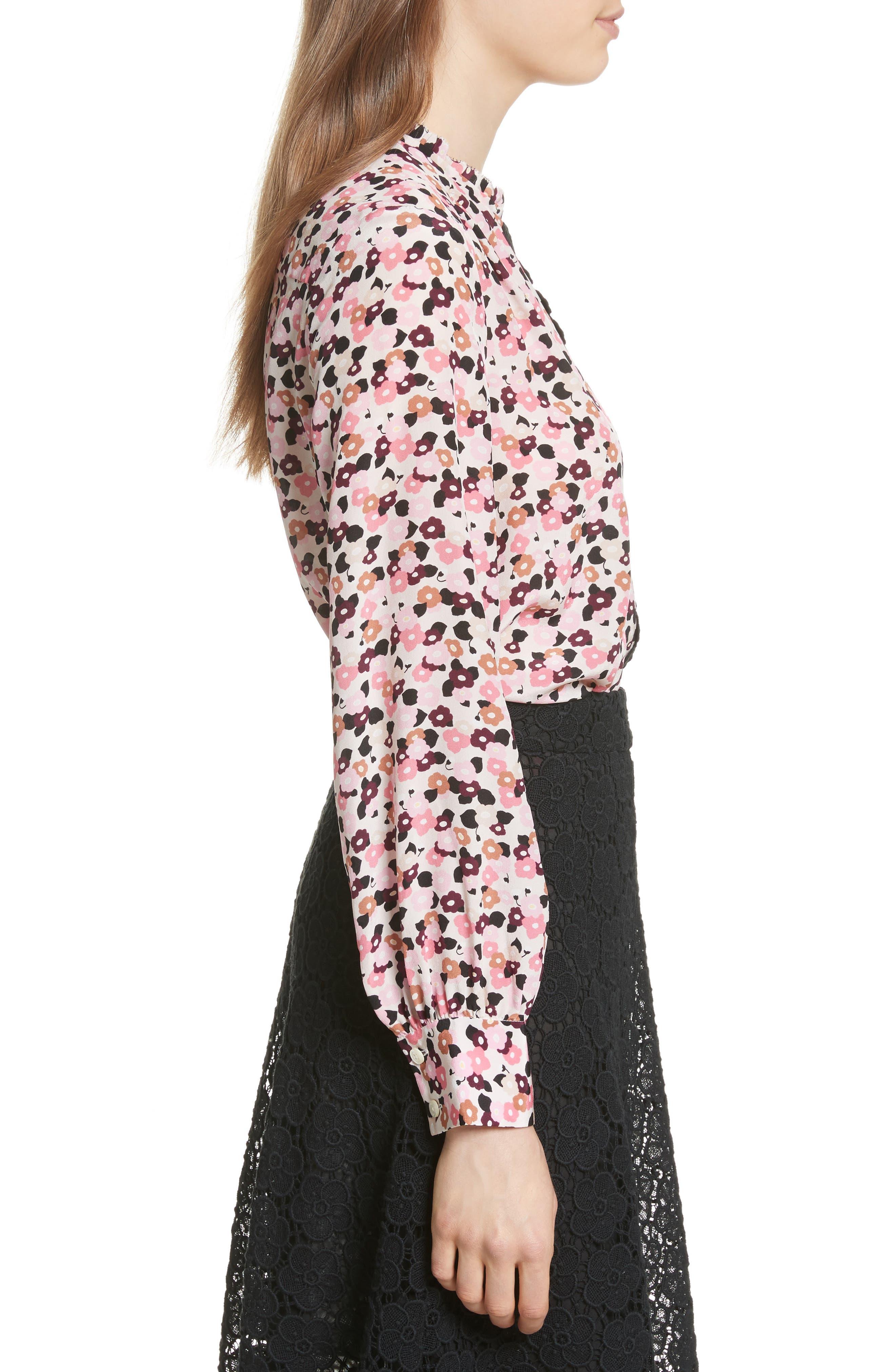 bloom print silk blouse,                             Alternate thumbnail 3, color,                             672