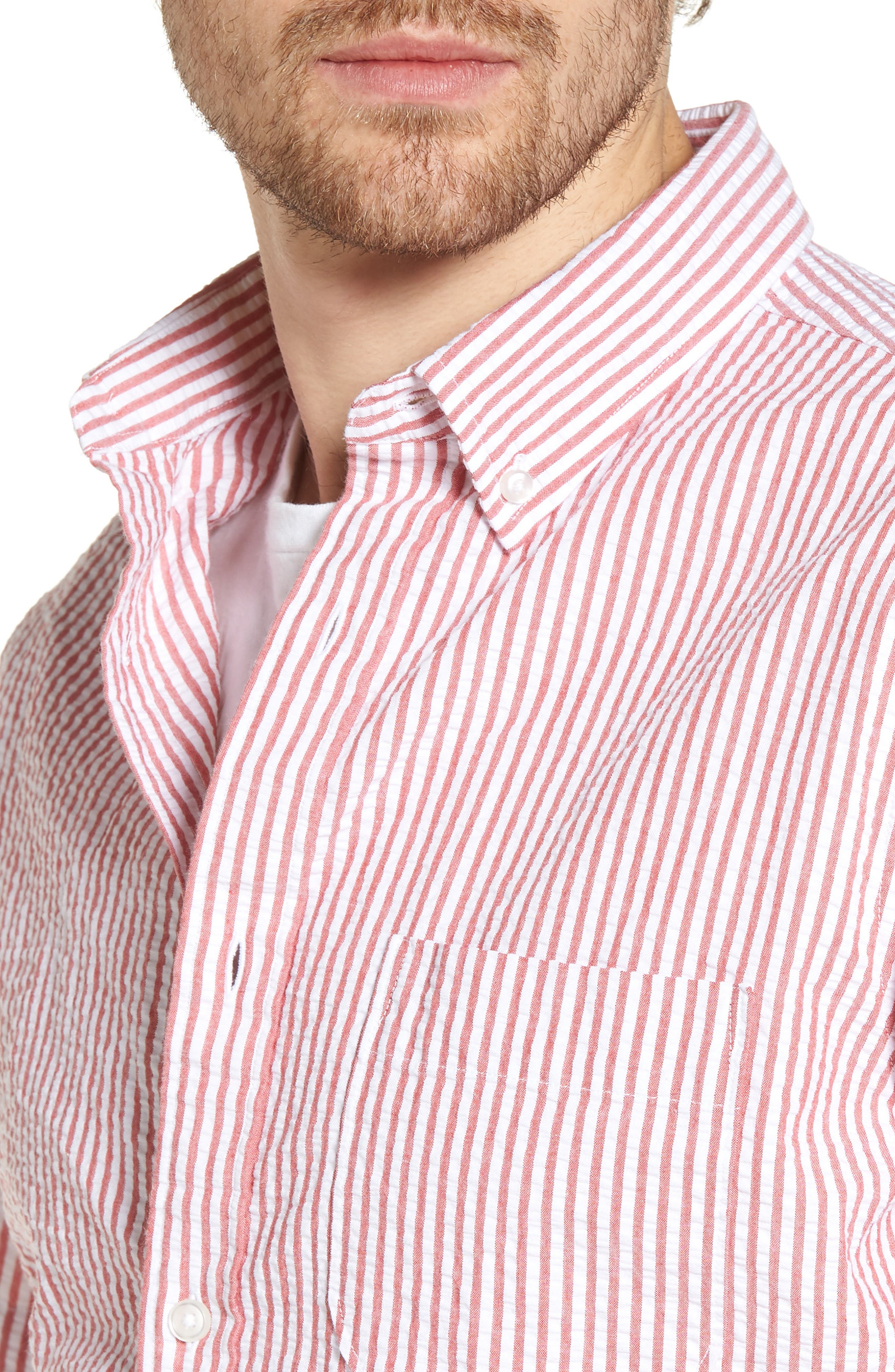 Stripe Seersucker Sport Shirt,                             Alternate thumbnail 12, color,