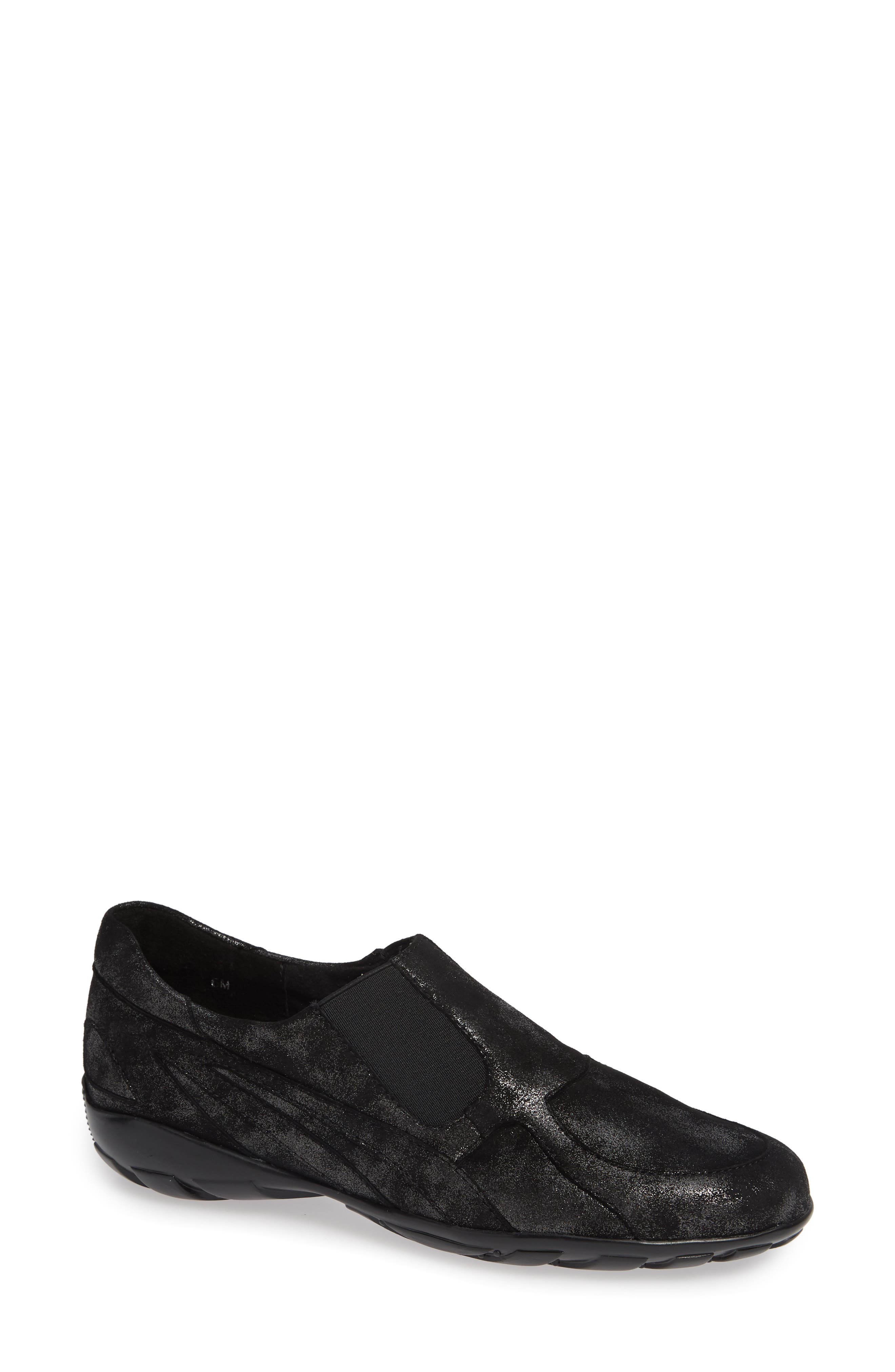 'Attie' Colorblock Slip-On Flat,                         Main,                         color, BLACK