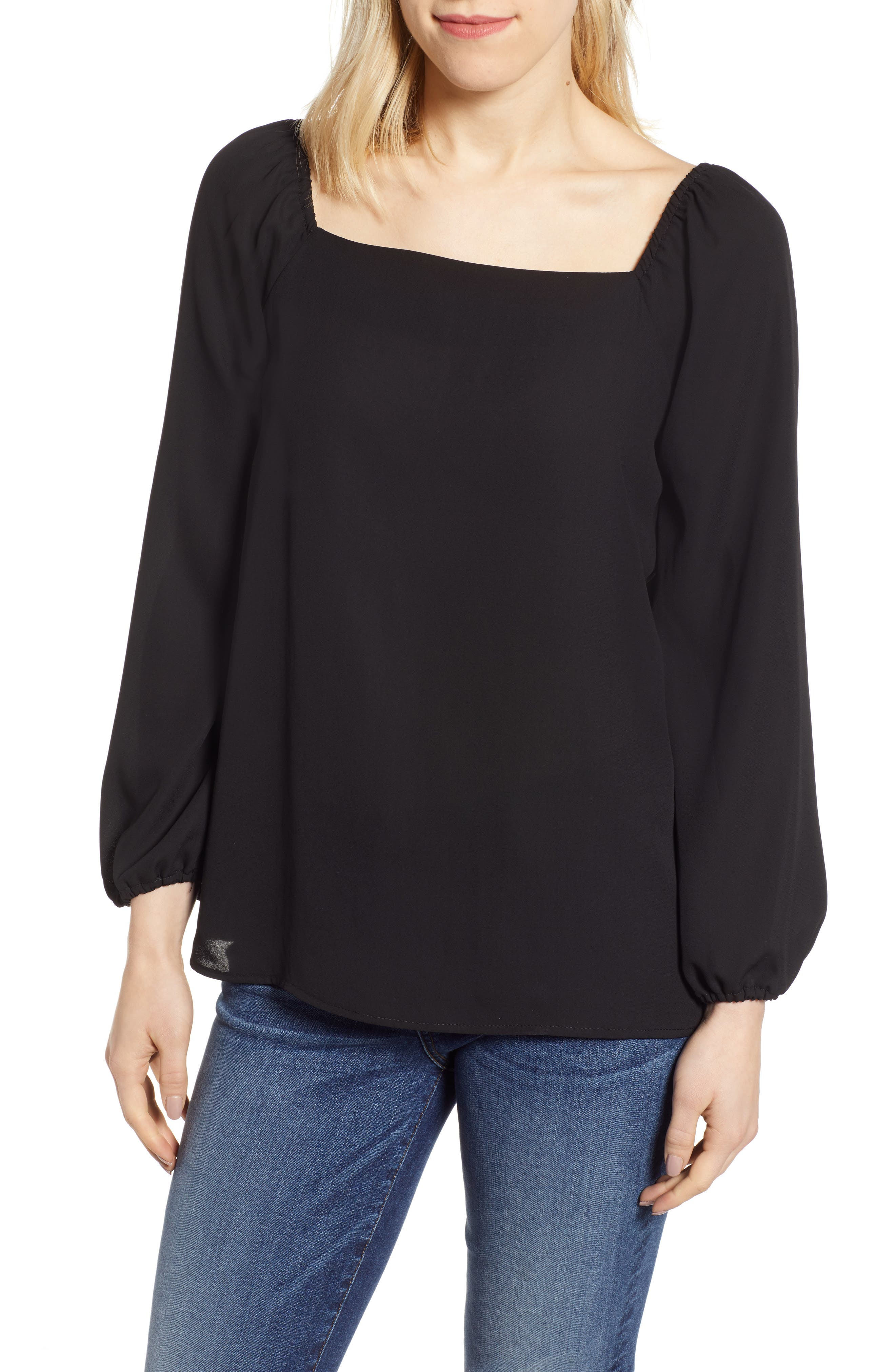 GIBSON x International Women's Day Chelsea Square Neck Blouse, Main, color, BLACK