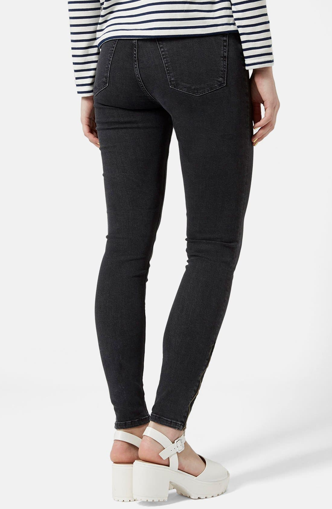 Moto 'Jamie' Zip Ankle Skinny Jeans,                             Alternate thumbnail 10, color,                             001