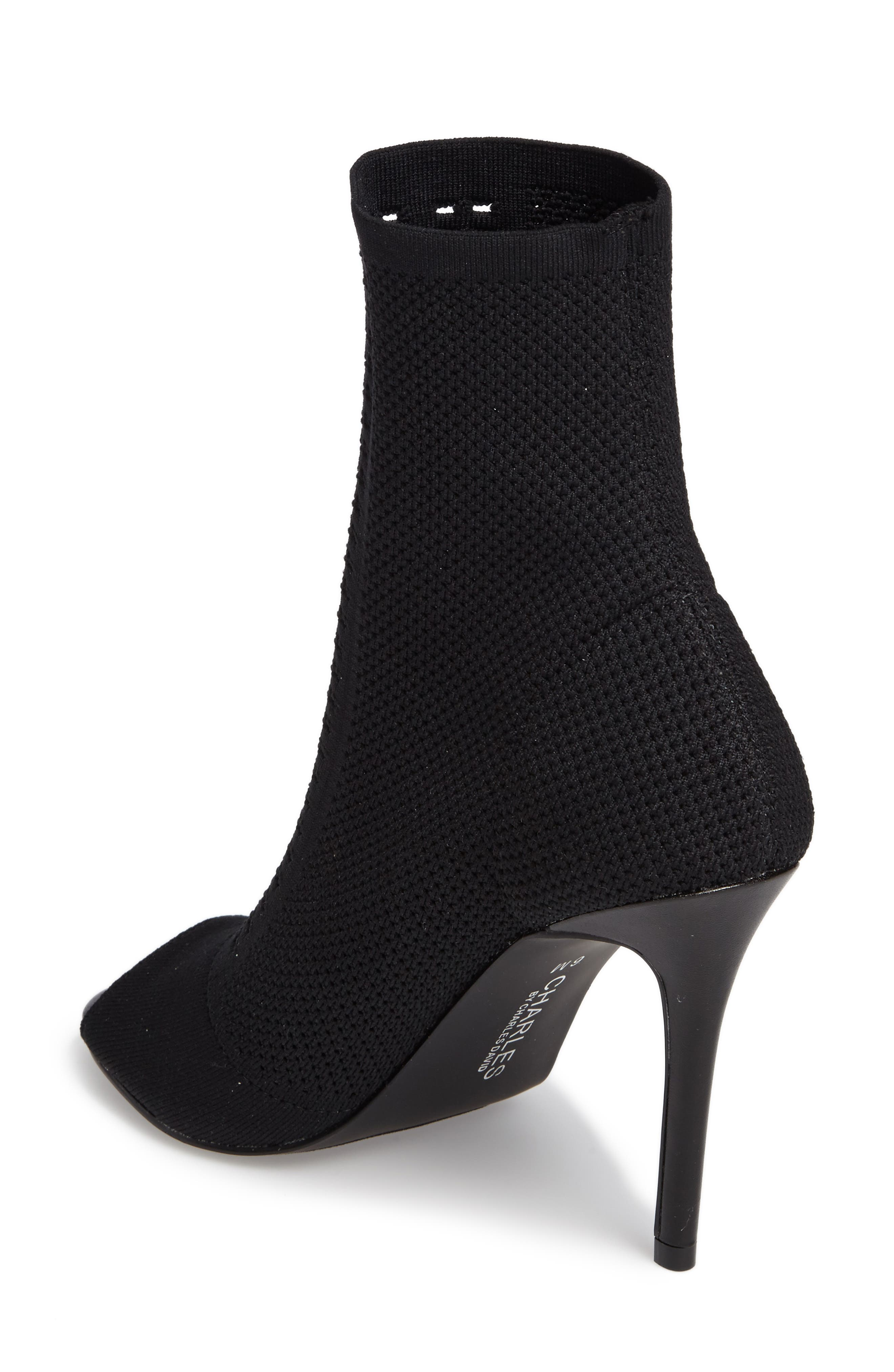 Rebellious Knit Peep Toe Bootie,                             Alternate thumbnail 2, color,                             001