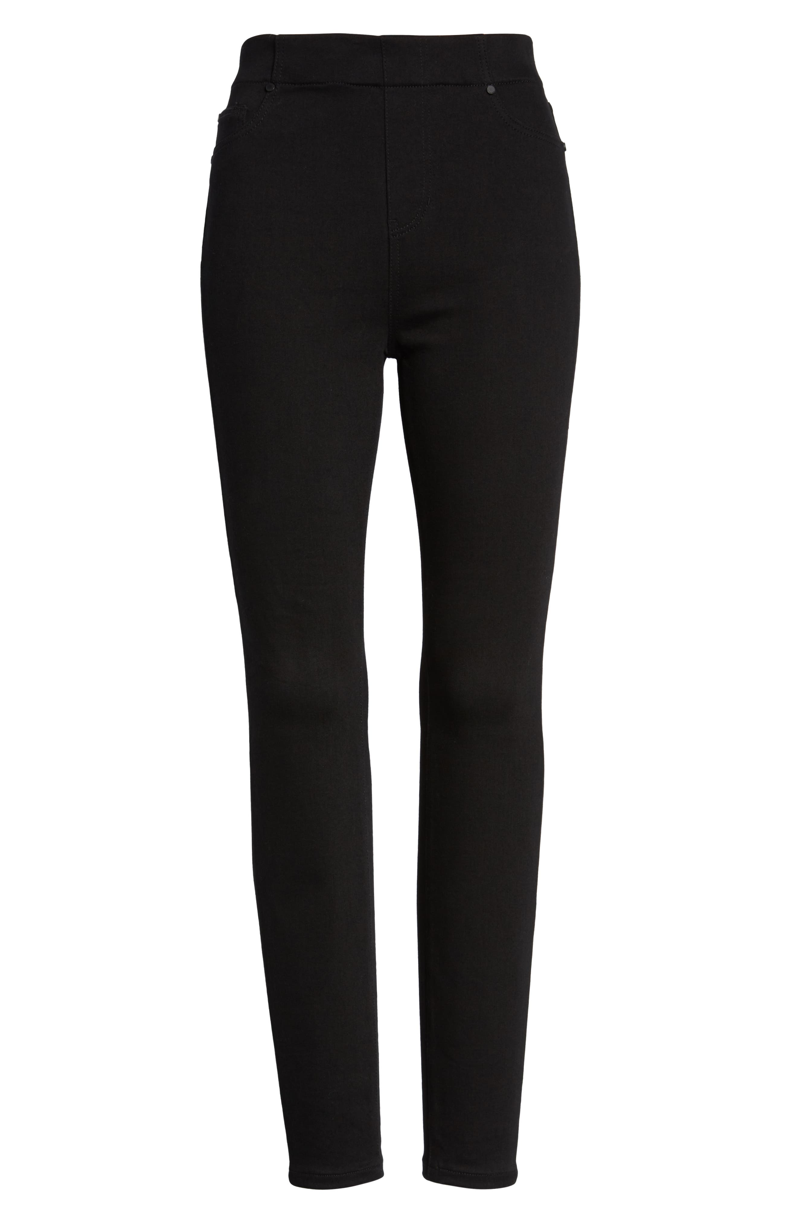 Chloe Pull-On Stretch Skinny Ankle Jeans,                             Alternate thumbnail 6, color,                             BLACK RINSE
