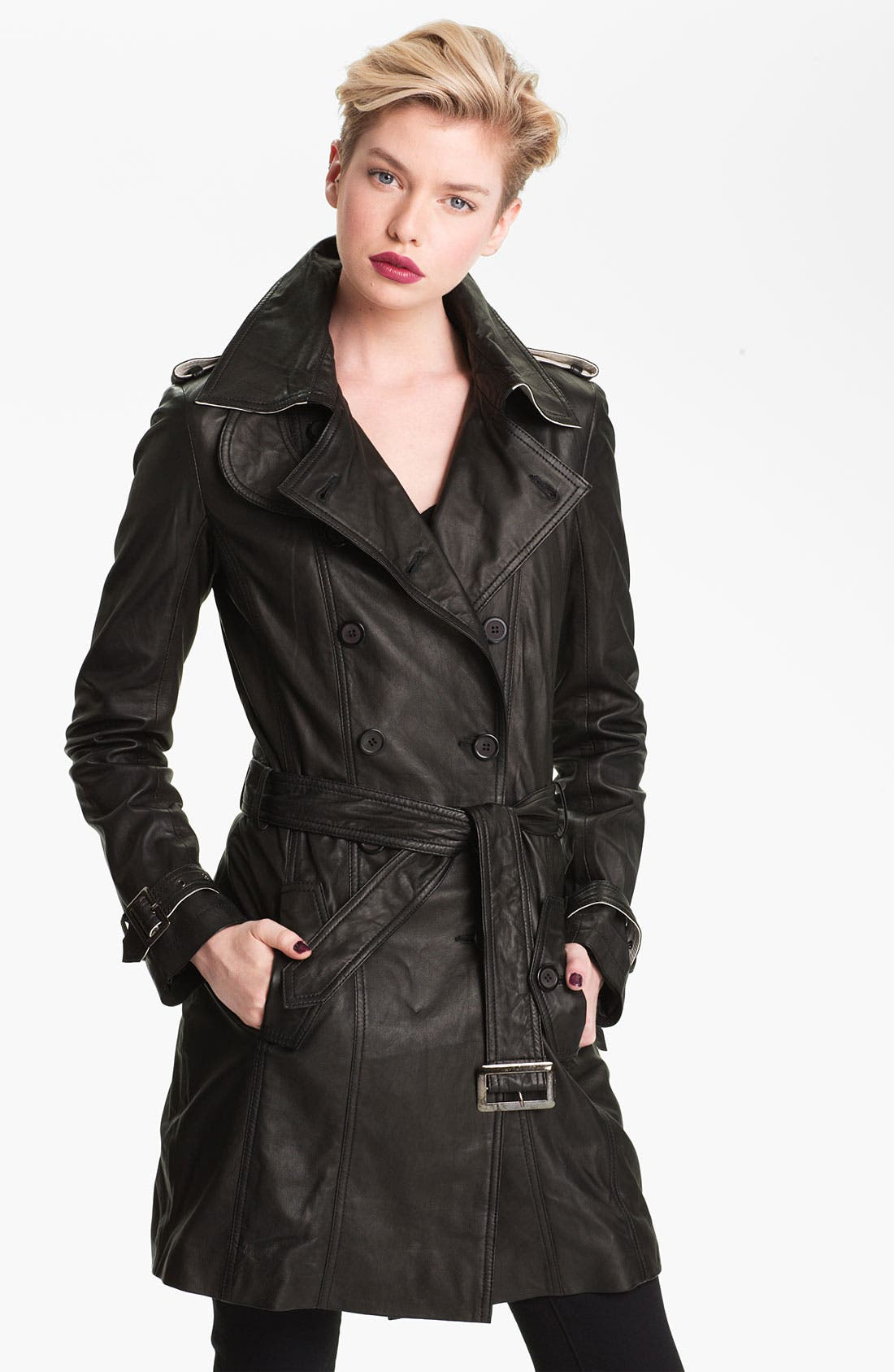 Double Breasted Leather Trench Coat,                             Main thumbnail 1, color,                             001