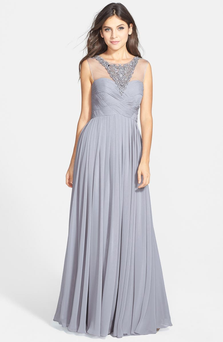 JS Collections Embellished Illusion Yoke Chiffon Gown | Nordstrom