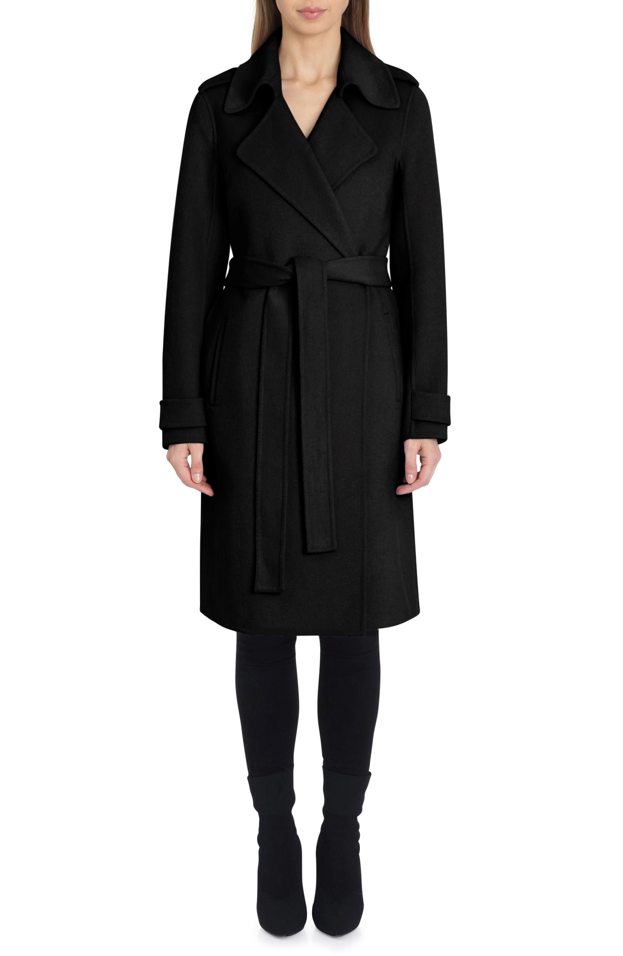 Double Face Wool Blend Wrap Front Coat,                             Main thumbnail 1, color,                             BLACK