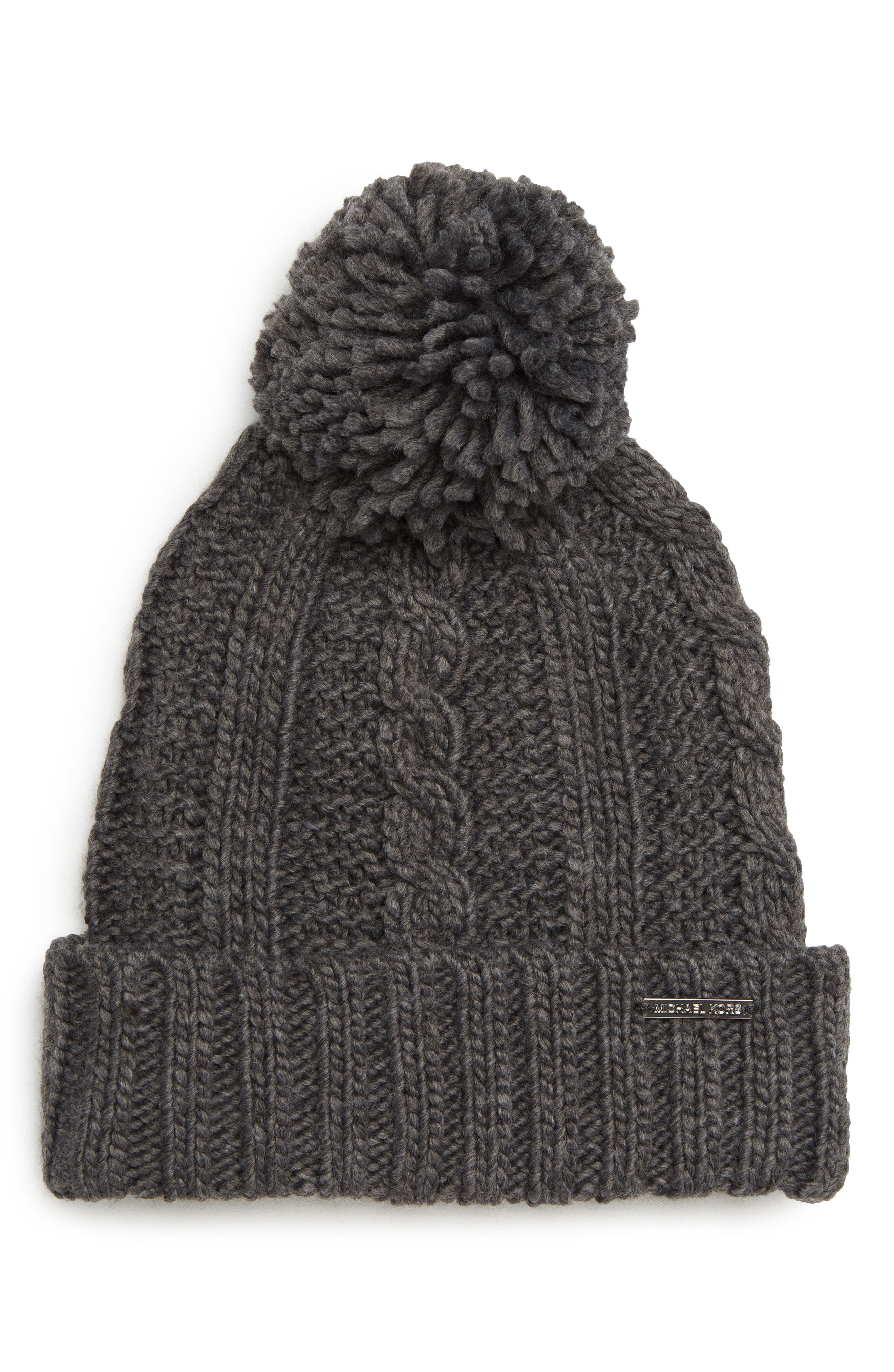 Cable Knit Hat,                             Main thumbnail 1, color,                             DERBY/ SILVER