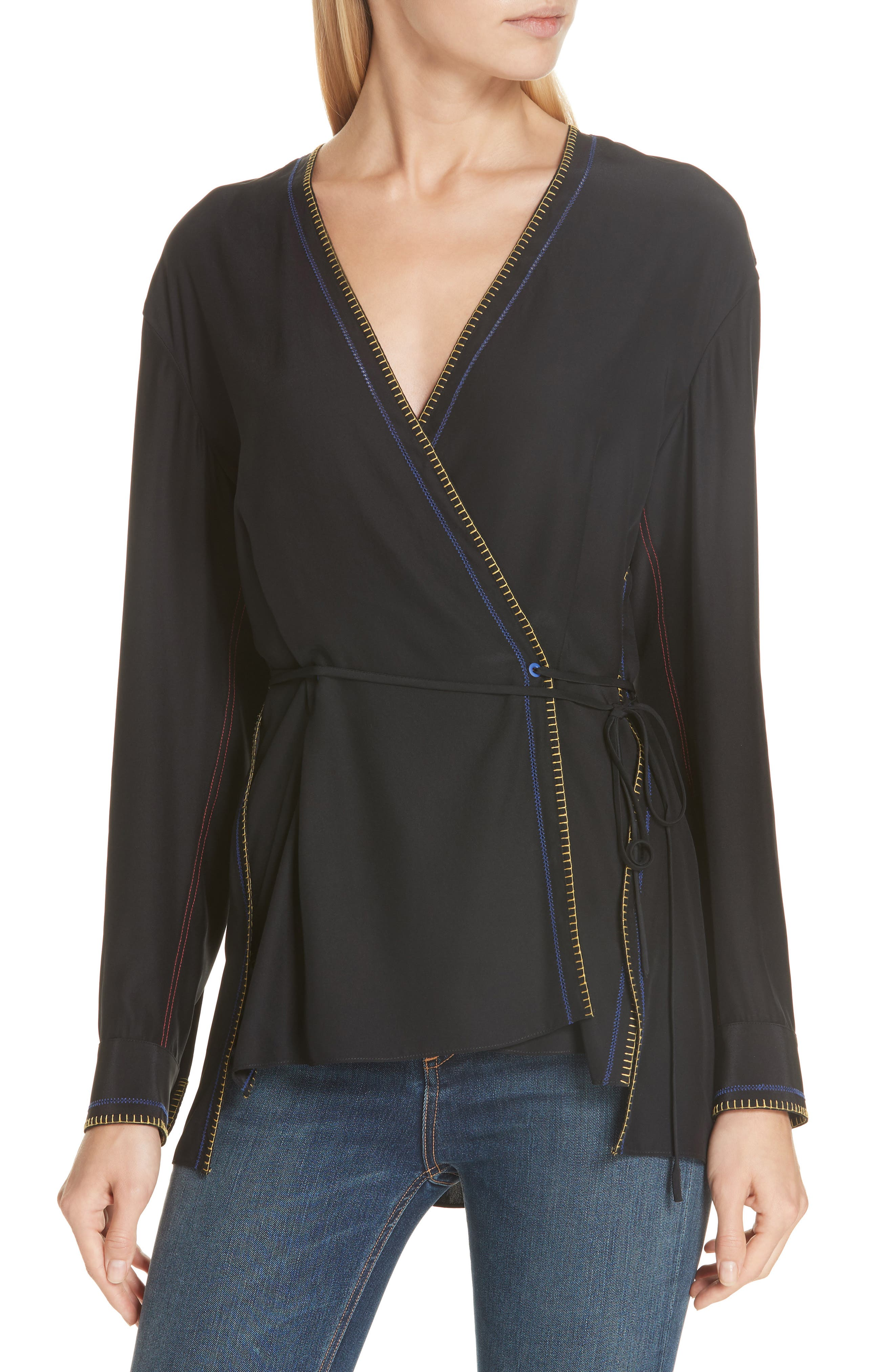 Lina Embroidered Silk Wrap Blouse,                         Main,                         color, BLACK