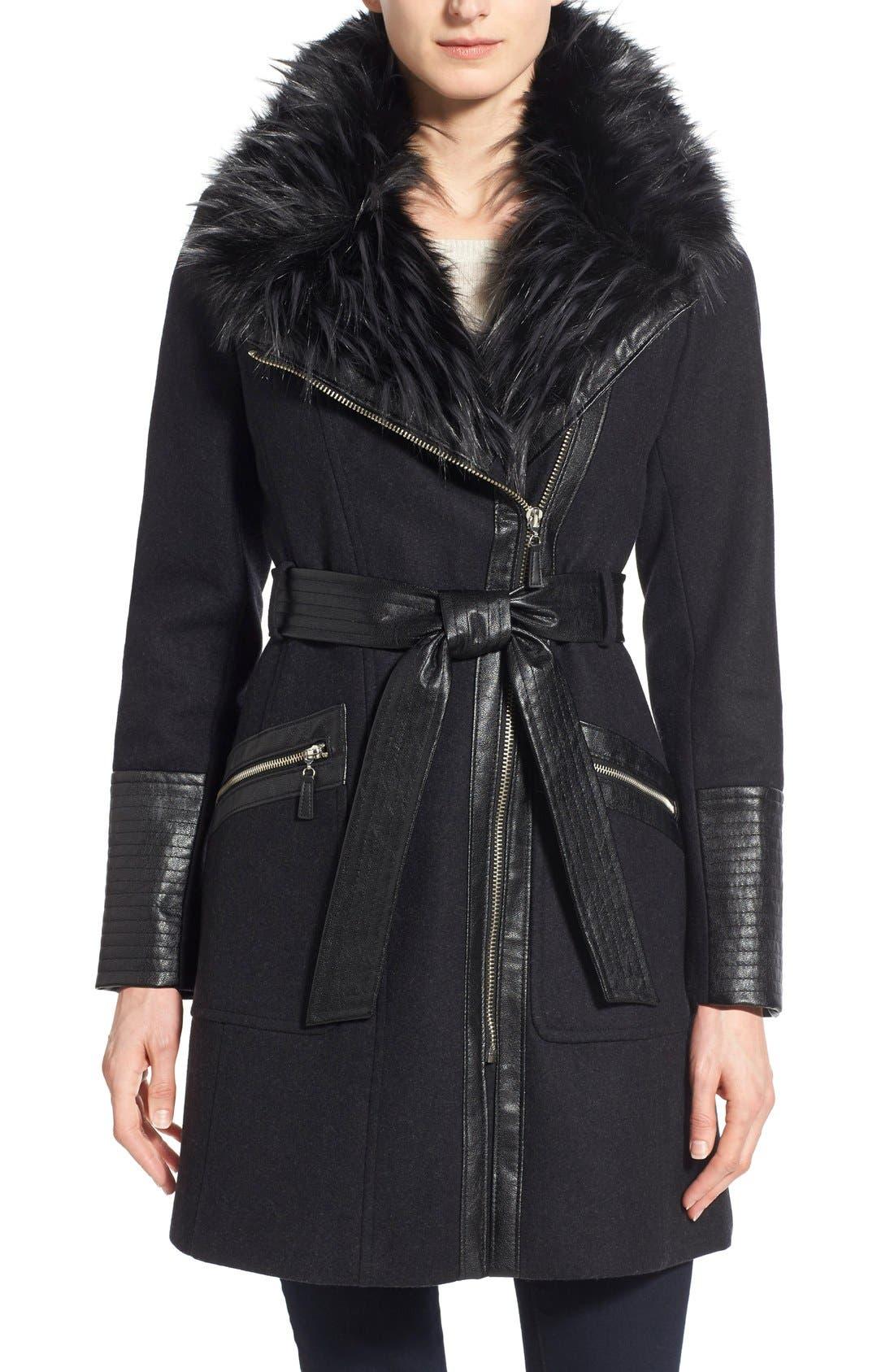 Faux Leather & Faux Fur Trim Belted Wool Blend Coat,                             Main thumbnail 4, color,