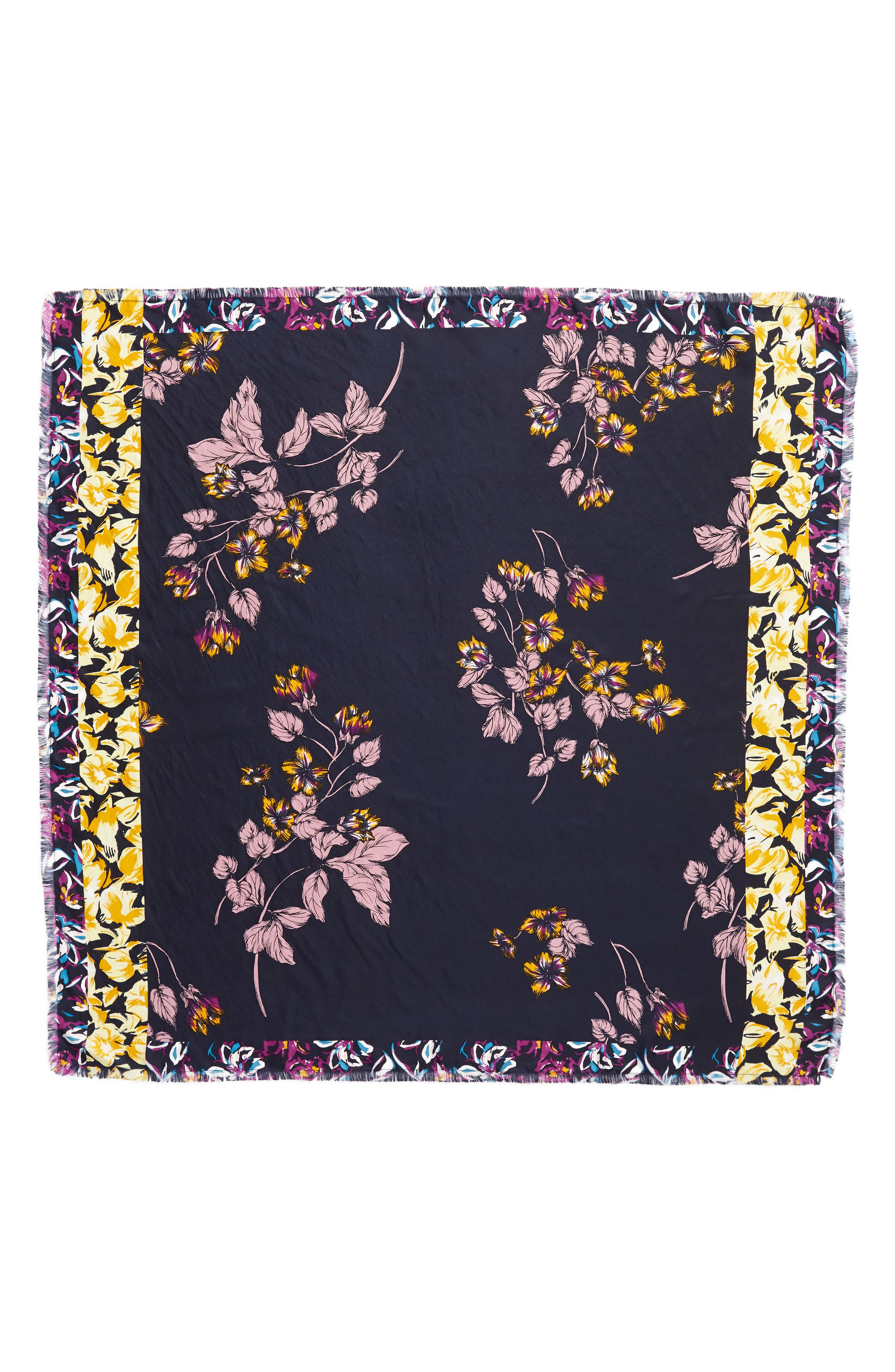 Floral Print Silk Twill Scarf,                             Alternate thumbnail 3, color,                             YELLOW MIRIAM PRINT