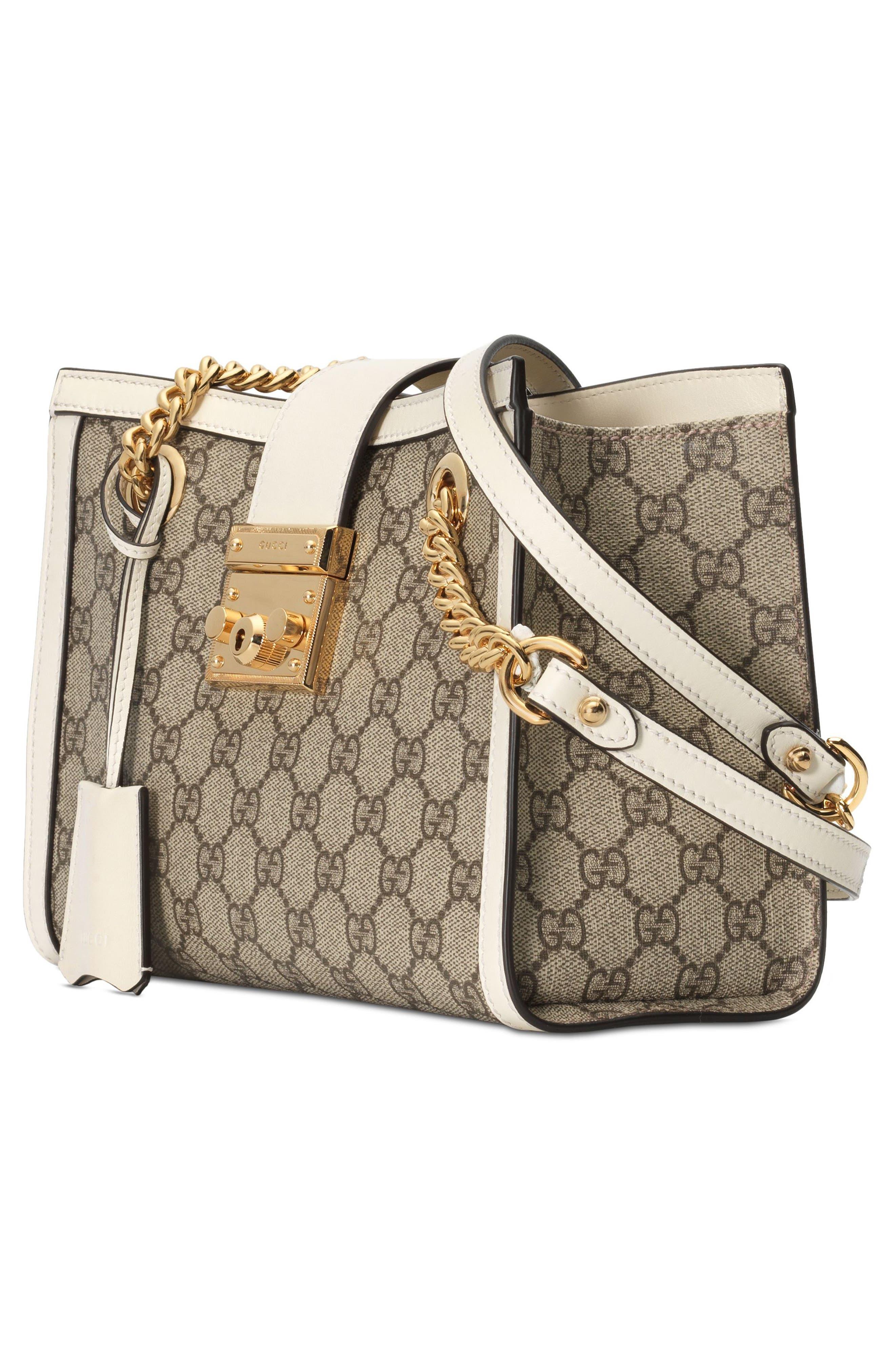 Small Padlock GG Supreme Shoulder Bag,                             Alternate thumbnail 4, color,                             BEIGE EBONY/ MYSTIC WHITE