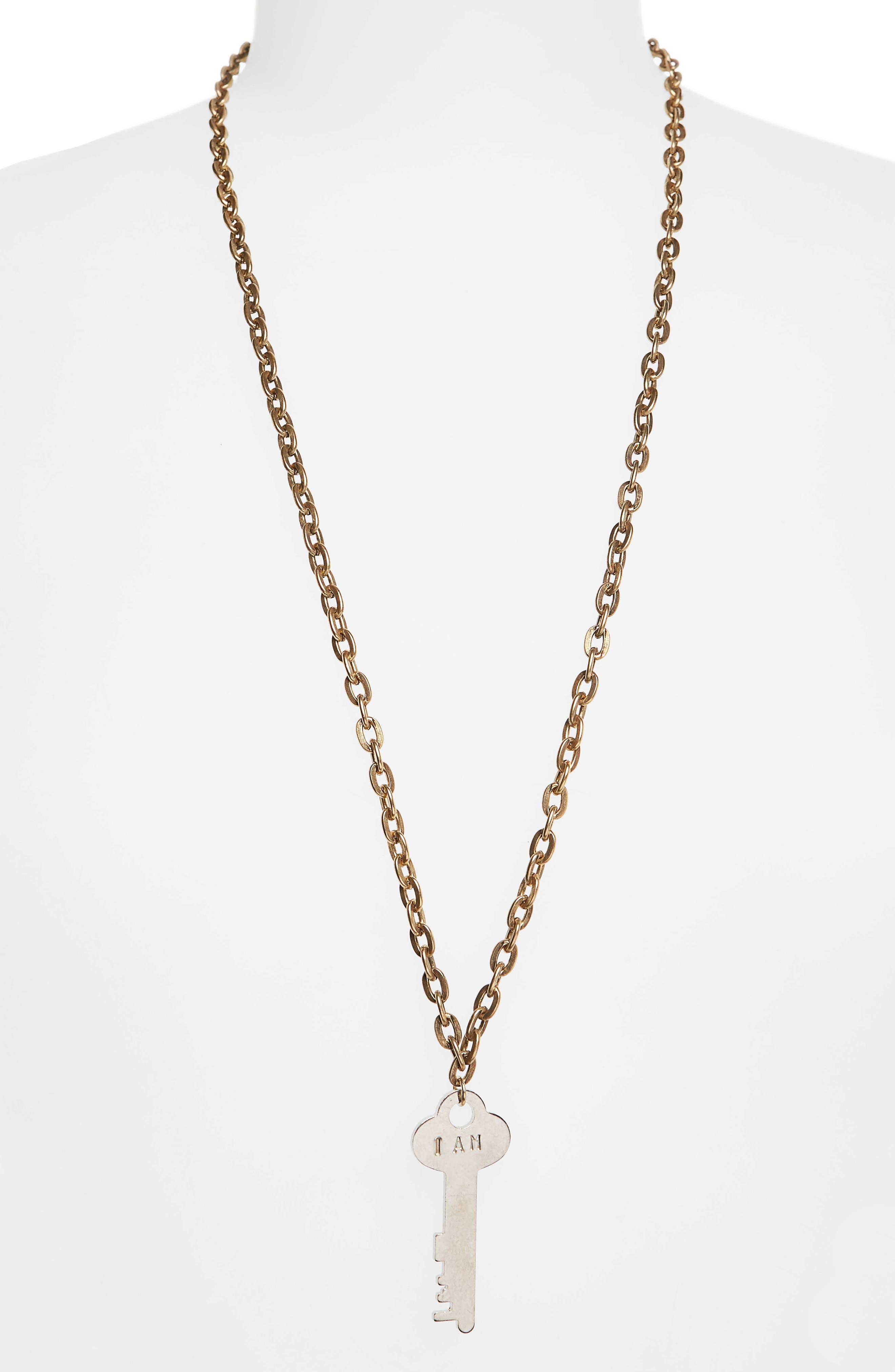 I Am Brave Key Charm Necklace,                             Main thumbnail 2, color,