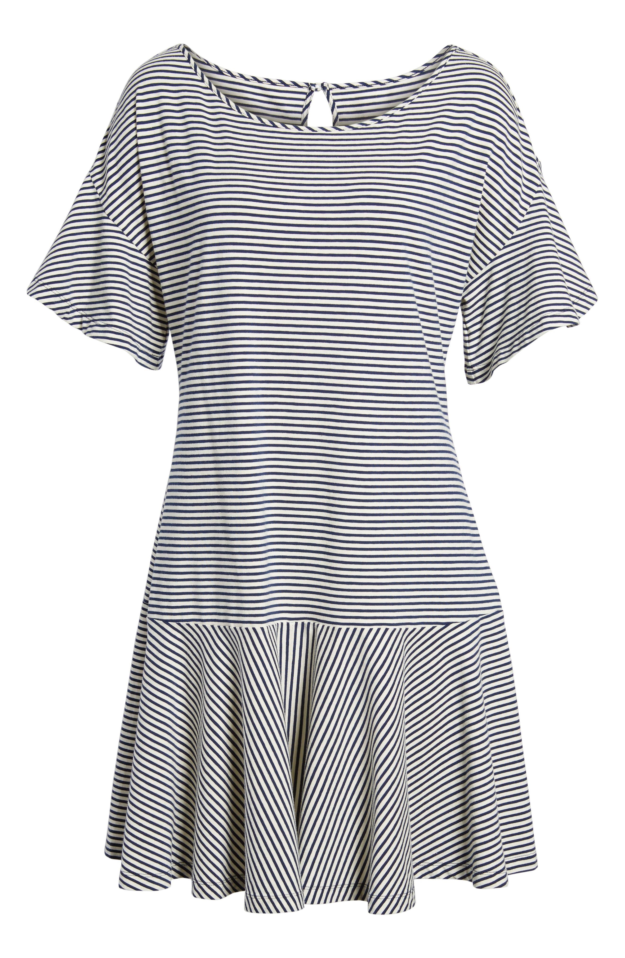 Stripe Flounce Dress,                             Alternate thumbnail 6, color,