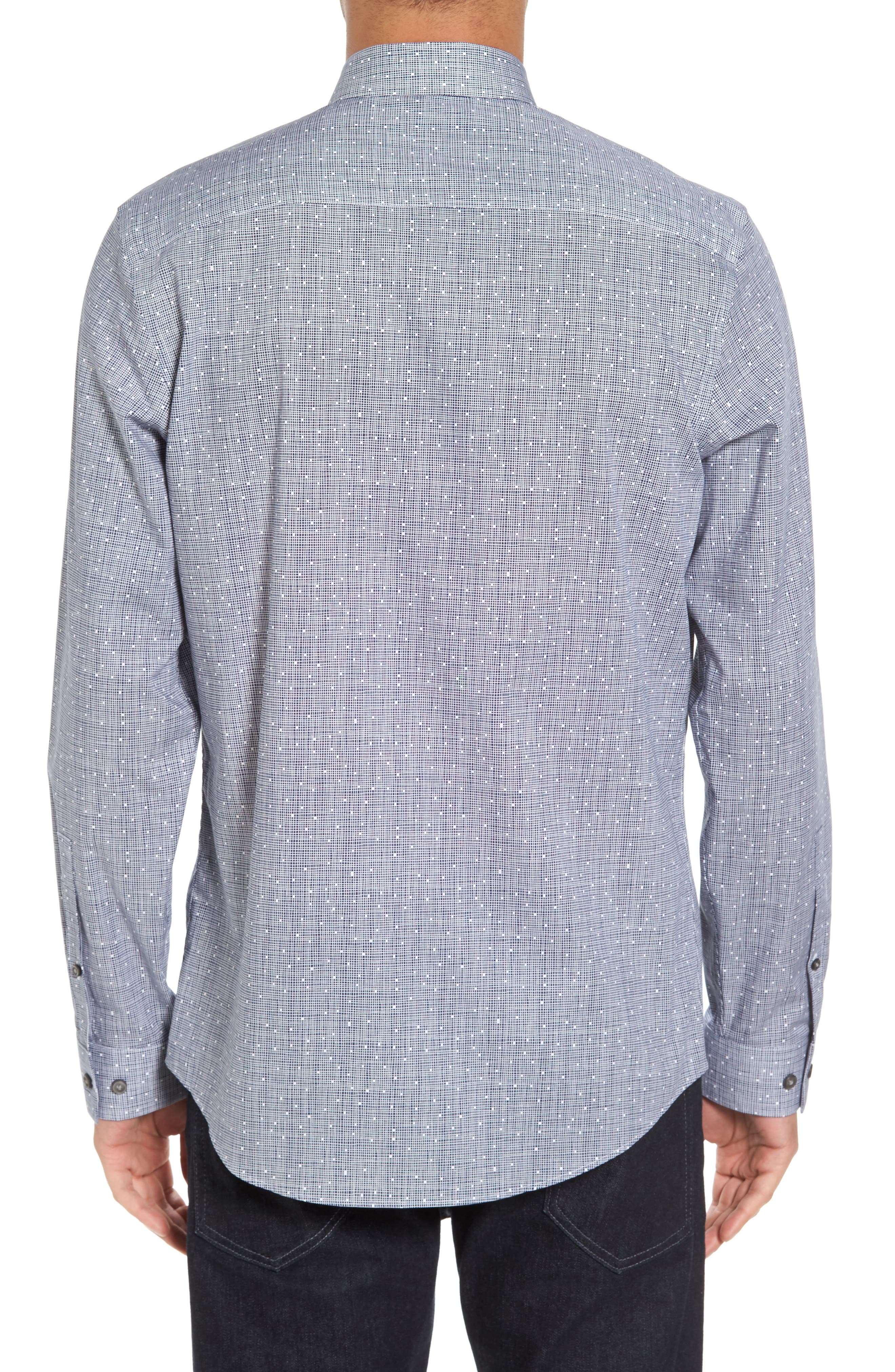 Slim Fit No-Iron Print Sport Shirt,                             Alternate thumbnail 2, color,