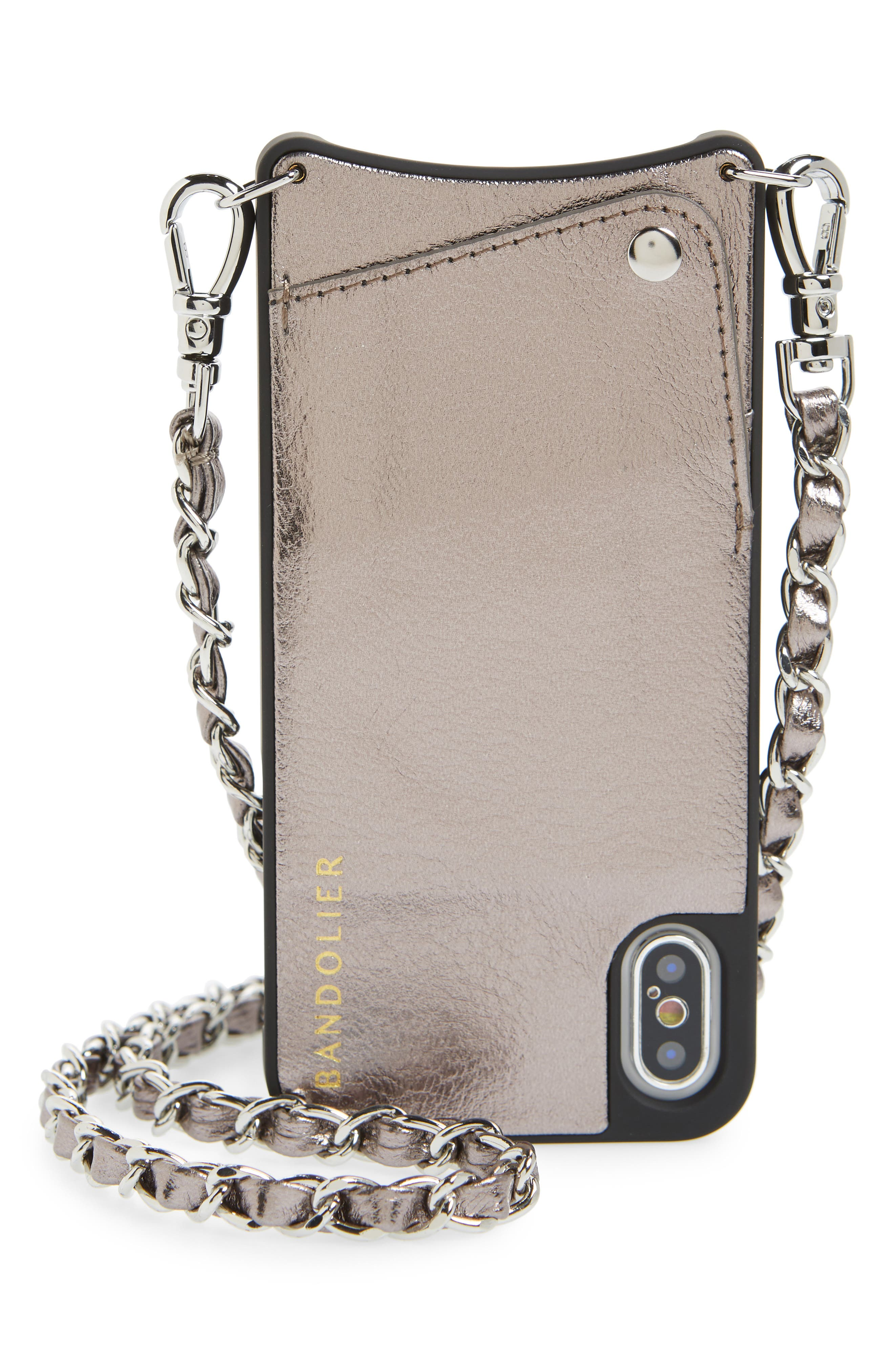 Lucy Faux Leather iPhone X/Xs Crossbody Case, Main, color, 040