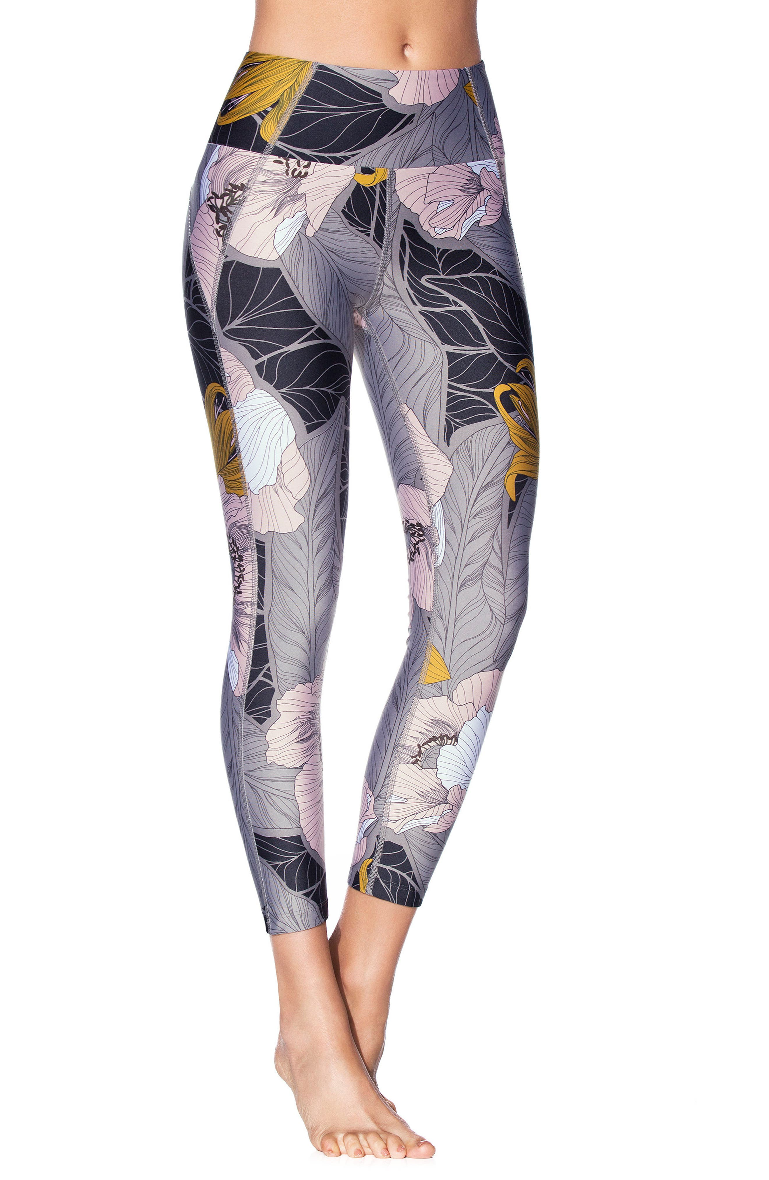 Dazeful Bloom Leggings,                         Main,                         color, BLACK MULTICOLOR