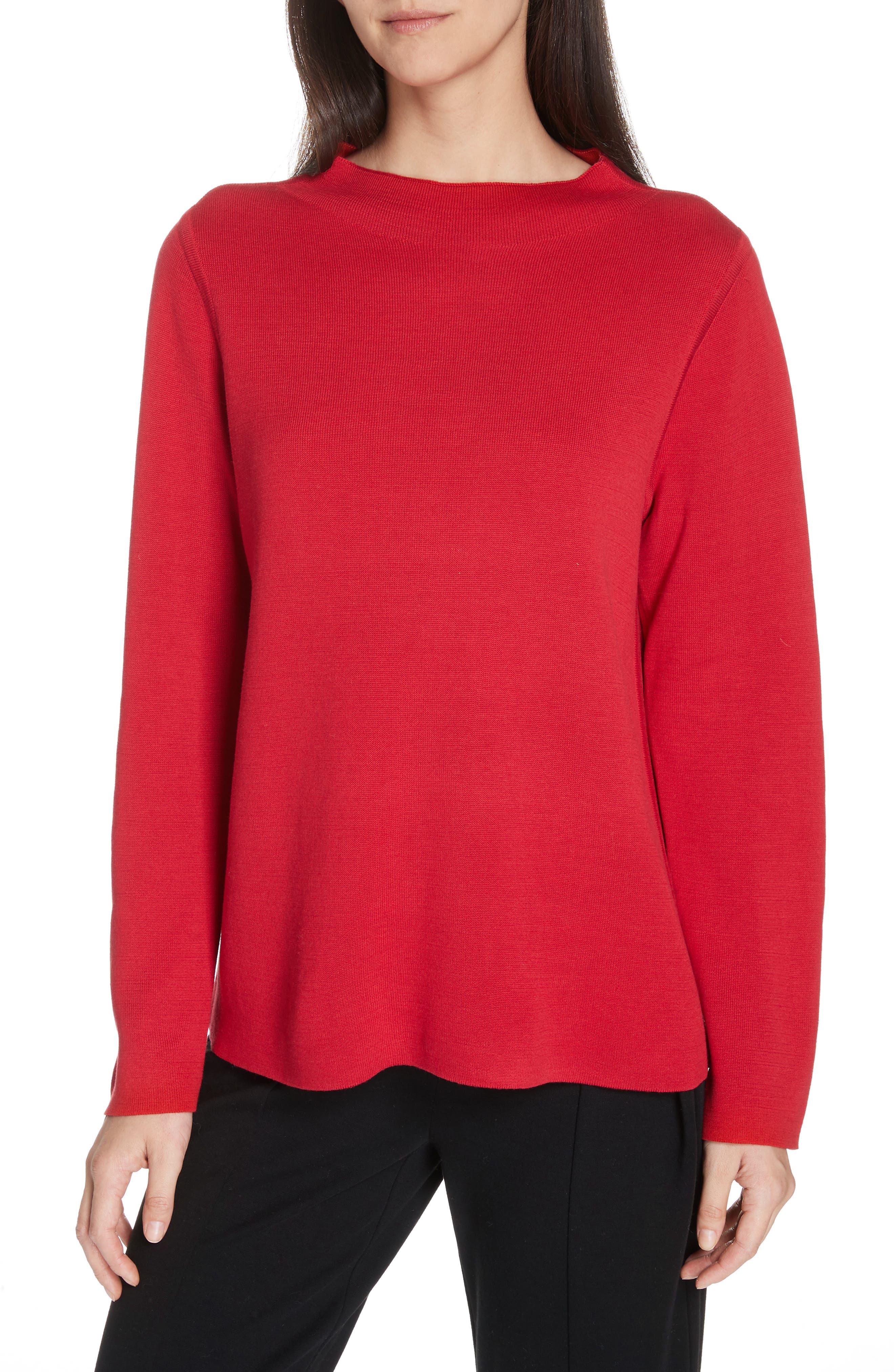 EILEEN FISHER, Reversilble Silk Blend Sweater, Main thumbnail 1, color, LACQUER