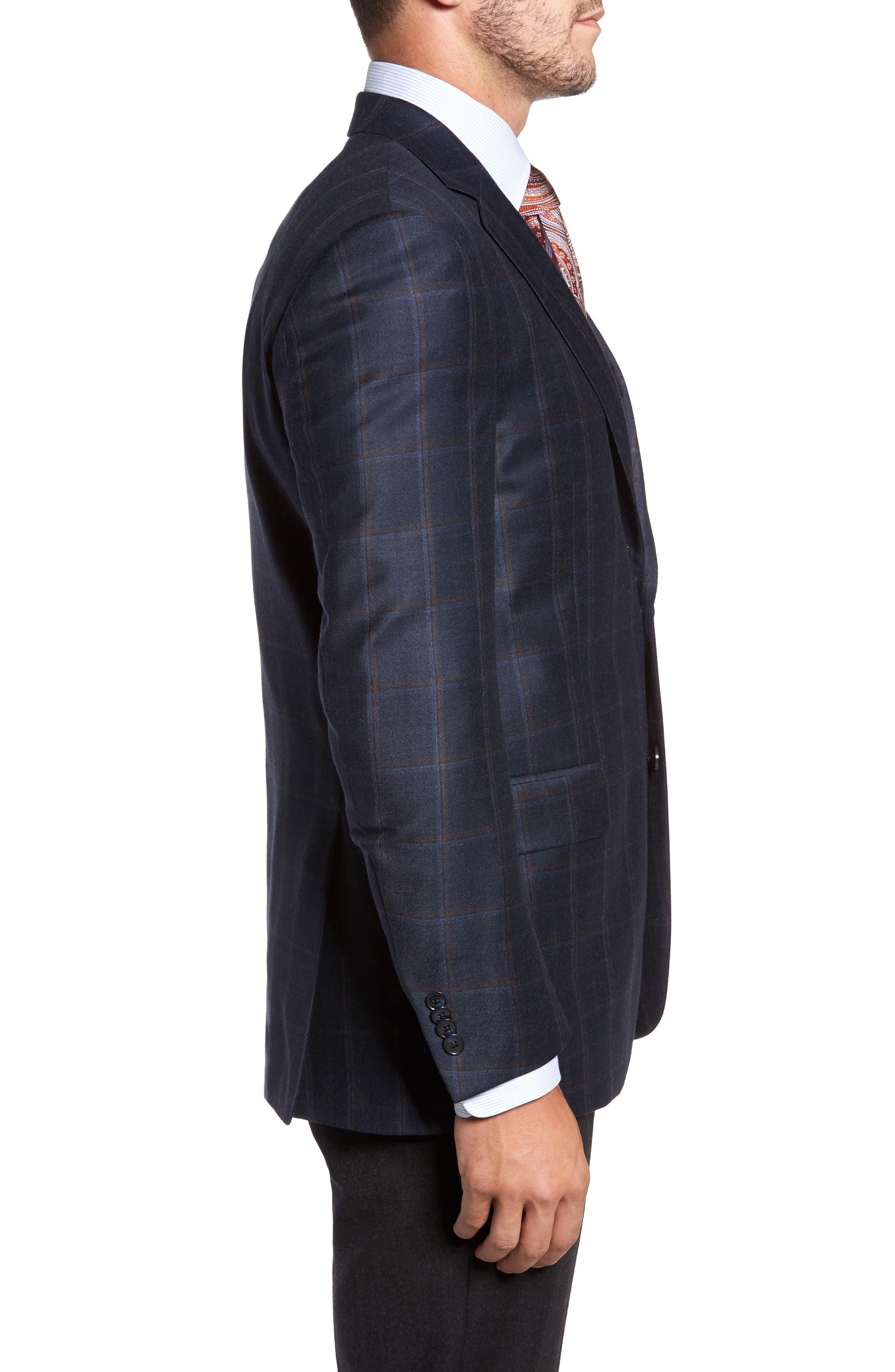 Flynn Classic Fit Plaid Wool & Cashmere Sport Coat,                             Alternate thumbnail 3, color,                             410