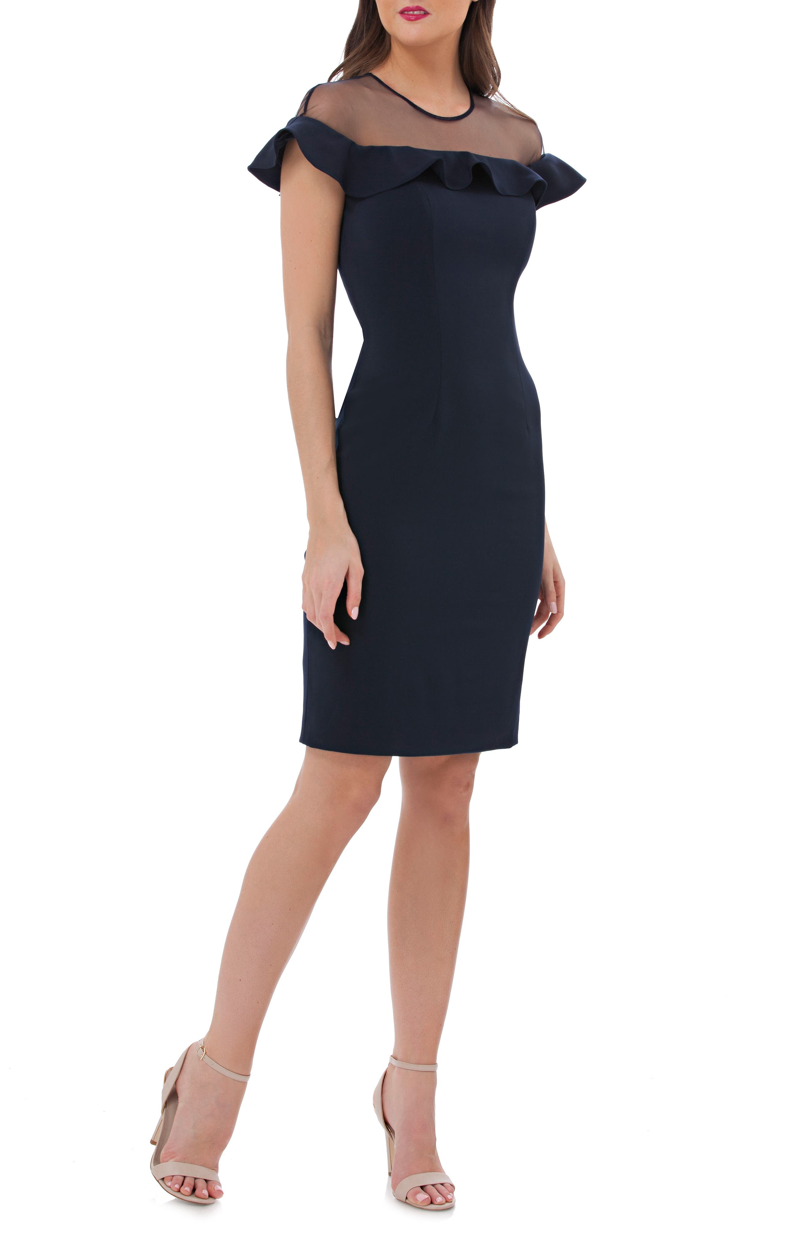 Illusion Yoke Ruffle Crepe Sheath Dress,                         Main,                         color, 476