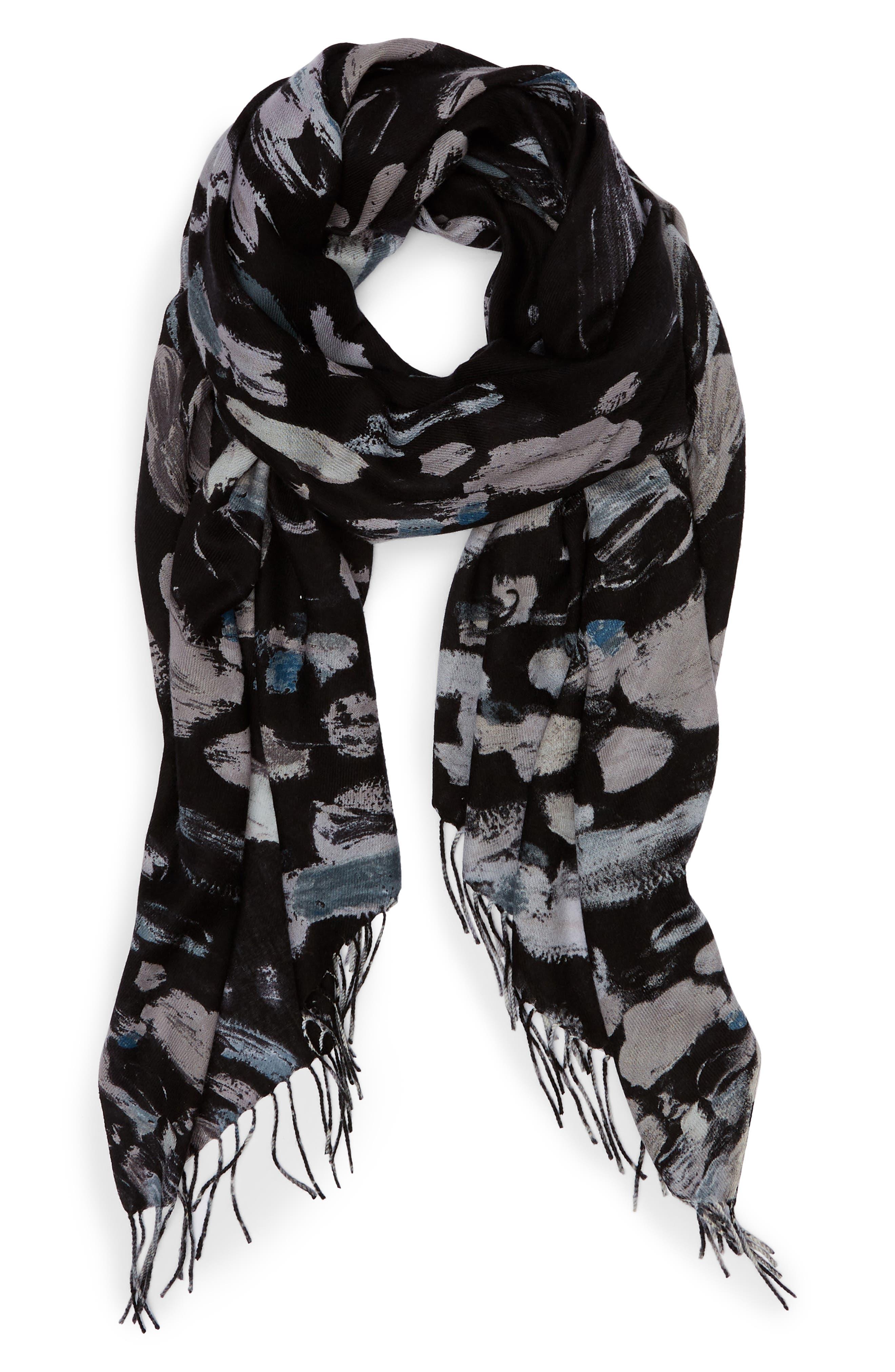 Tissue Print Wool & Cashmere Wrap Scarf,                             Alternate thumbnail 2, color,                             BLACK IMPRESSIONIST DOT