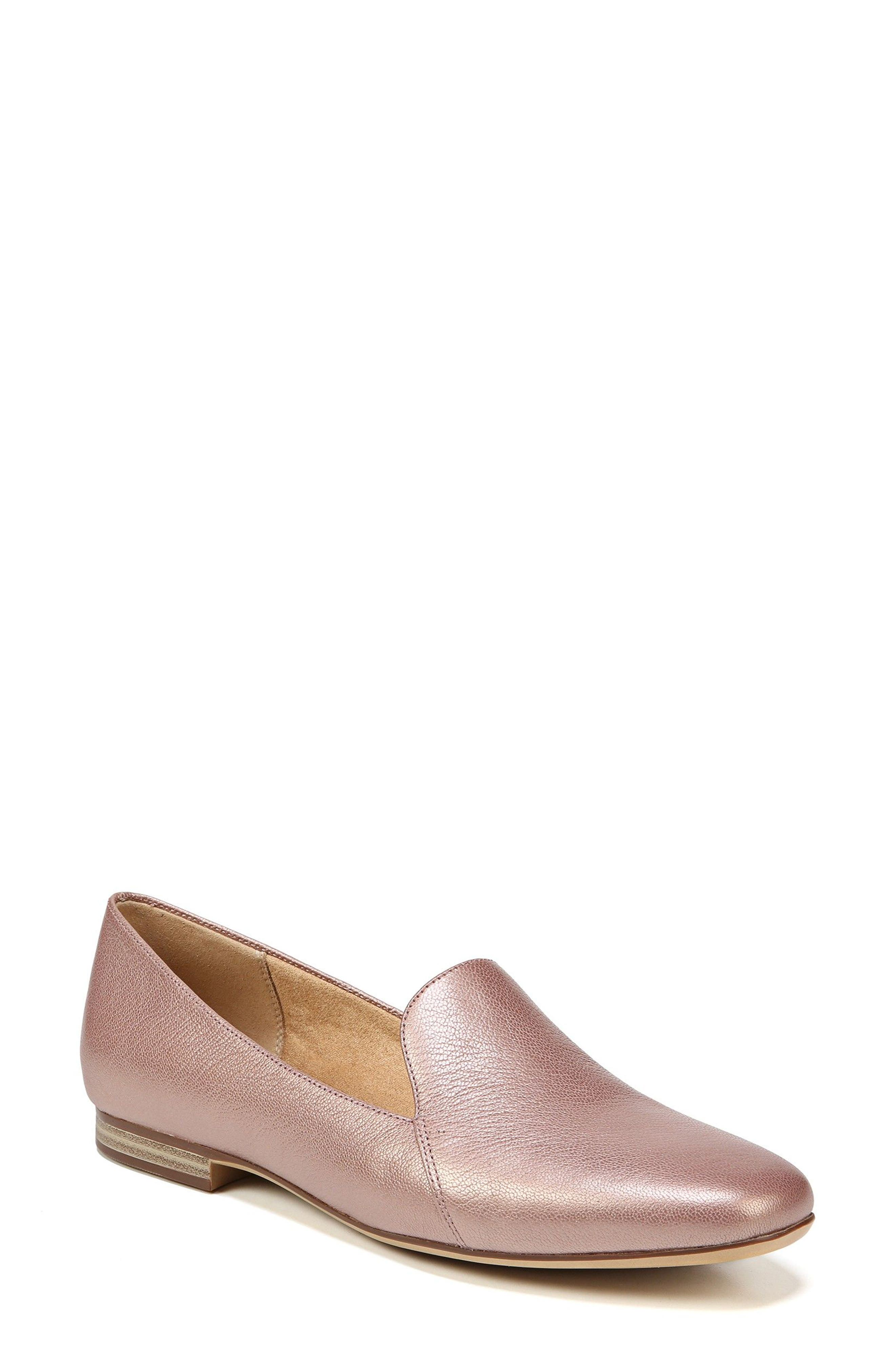 Emiline Flat Loafer,                         Main,                         color, ROSE GOLD LEATHER
