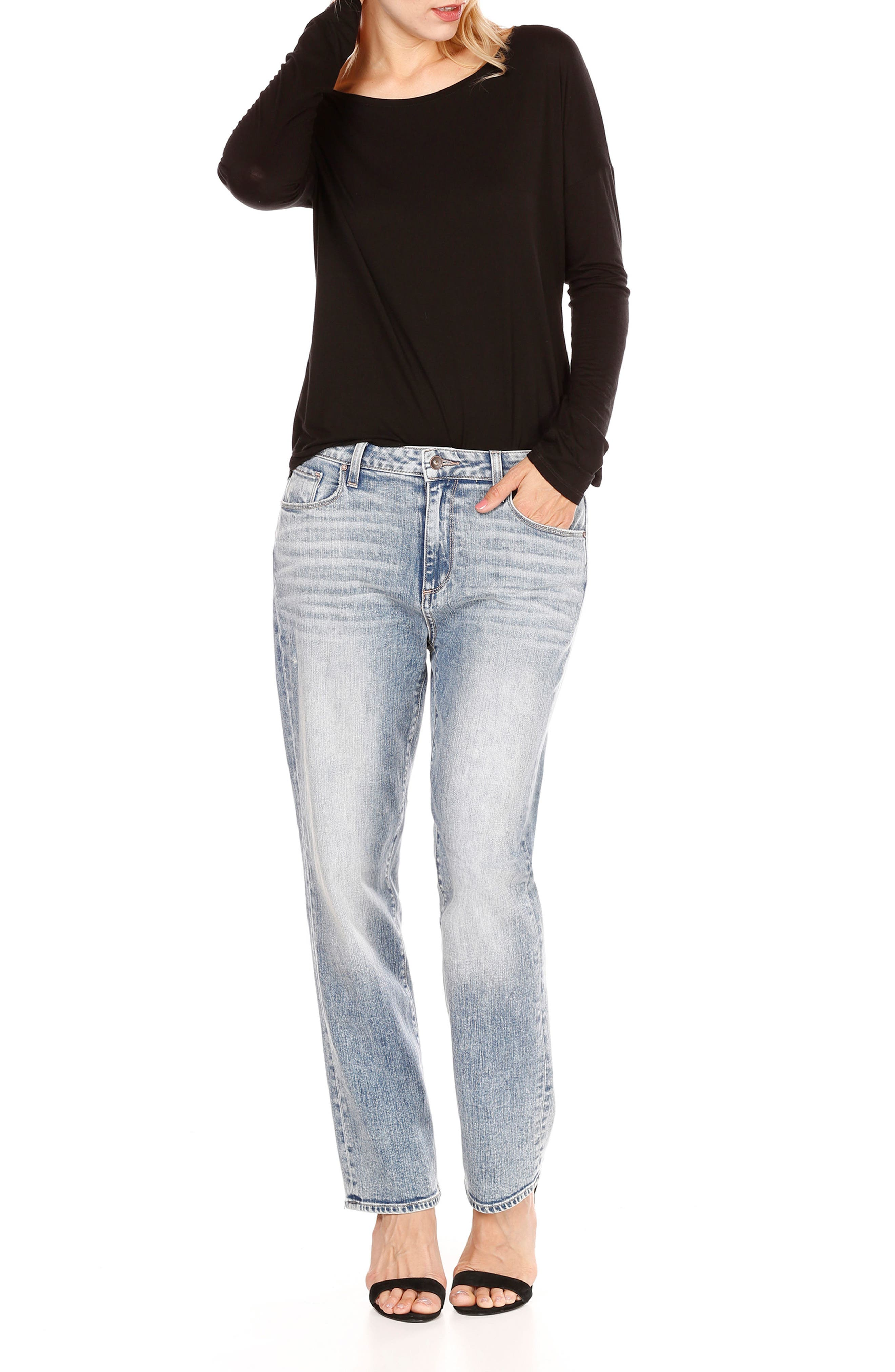 Noella High Waist Straight Leg Jeans,                             Alternate thumbnail 3, color,