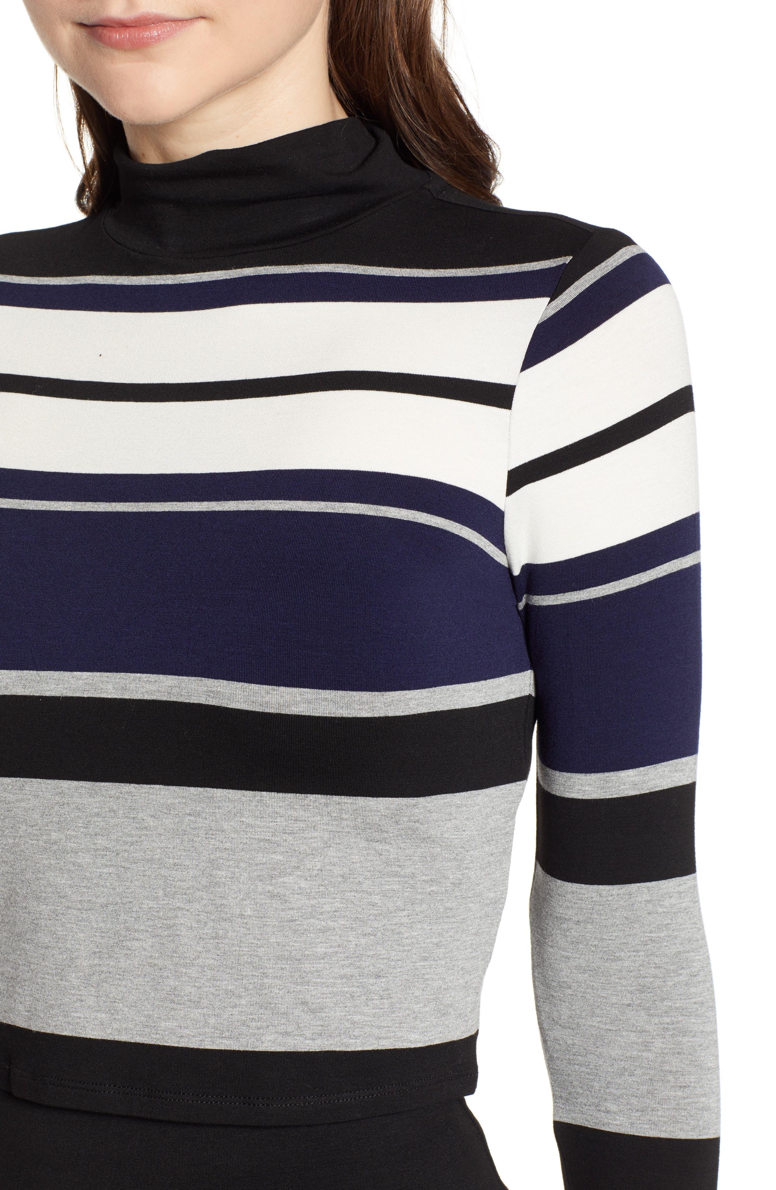 Stripe Mock Neck Tee,                             Alternate thumbnail 4, color,                             BLACK/ WHITE/ GREY
