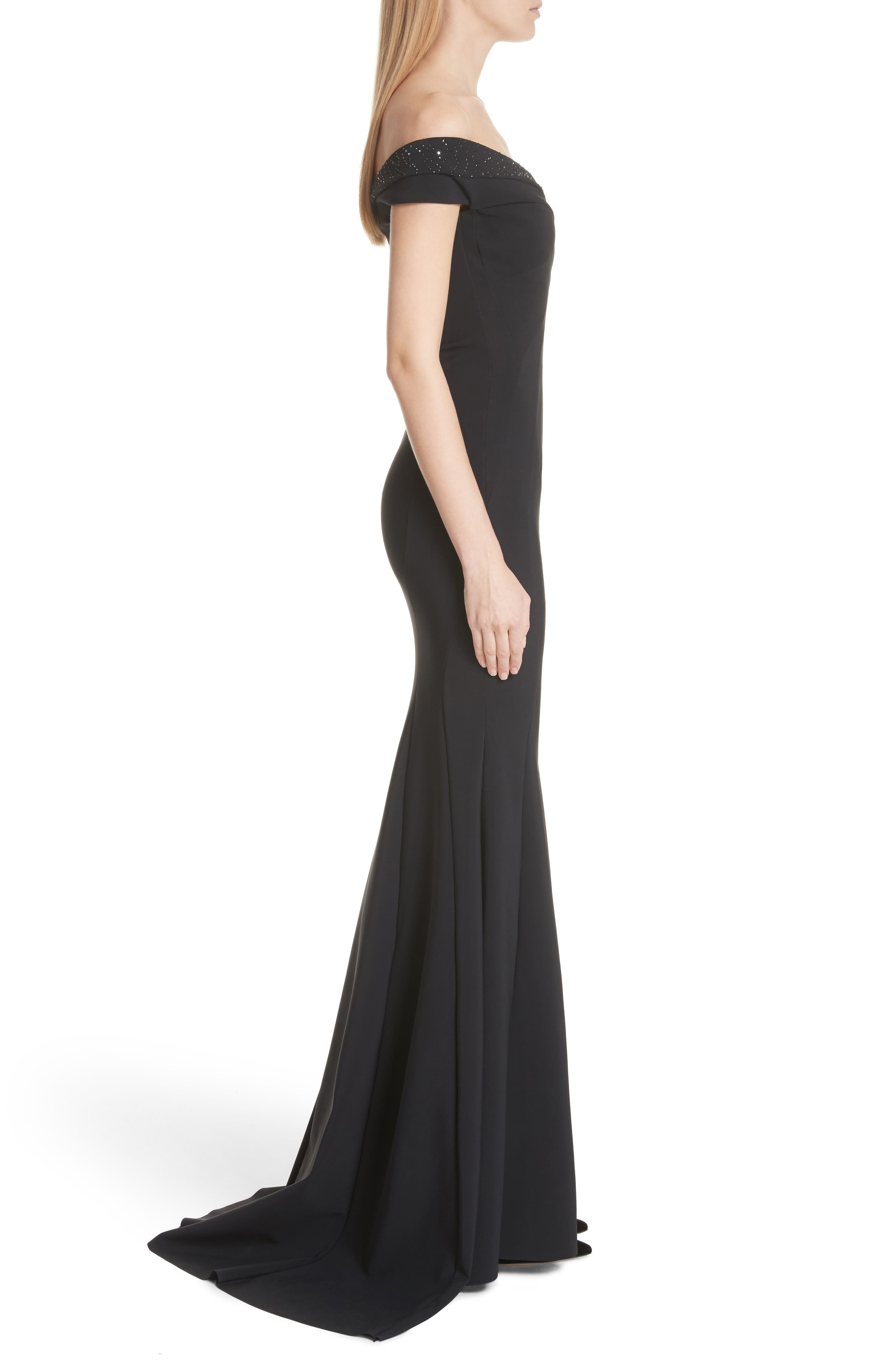 Gena Crystal Mermaid Gown,                             Alternate thumbnail 3, color,                             BLACK