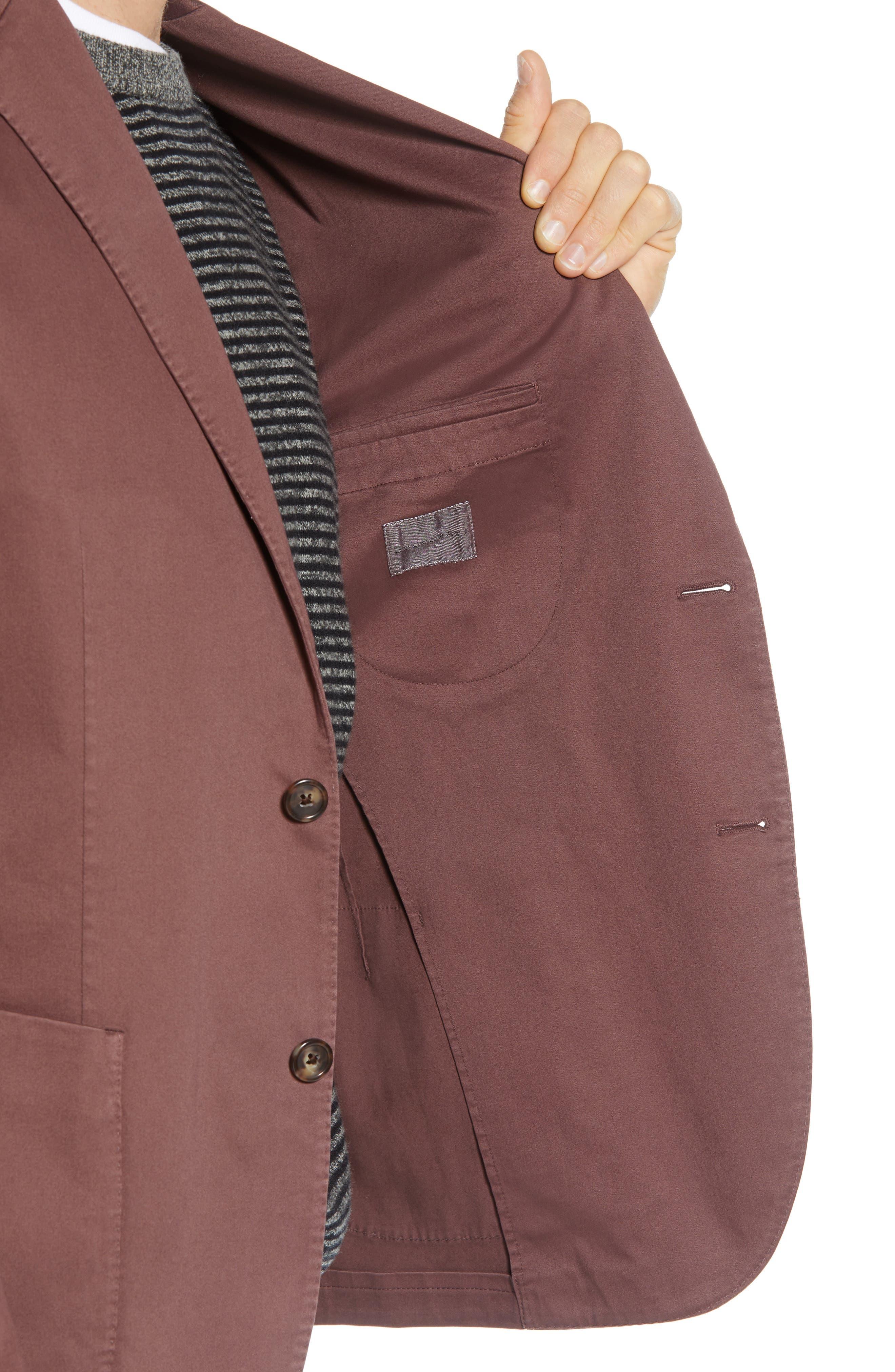 Trim Fit Stretch Cotton Blazer,                             Alternate thumbnail 4, color,                             DARK RED