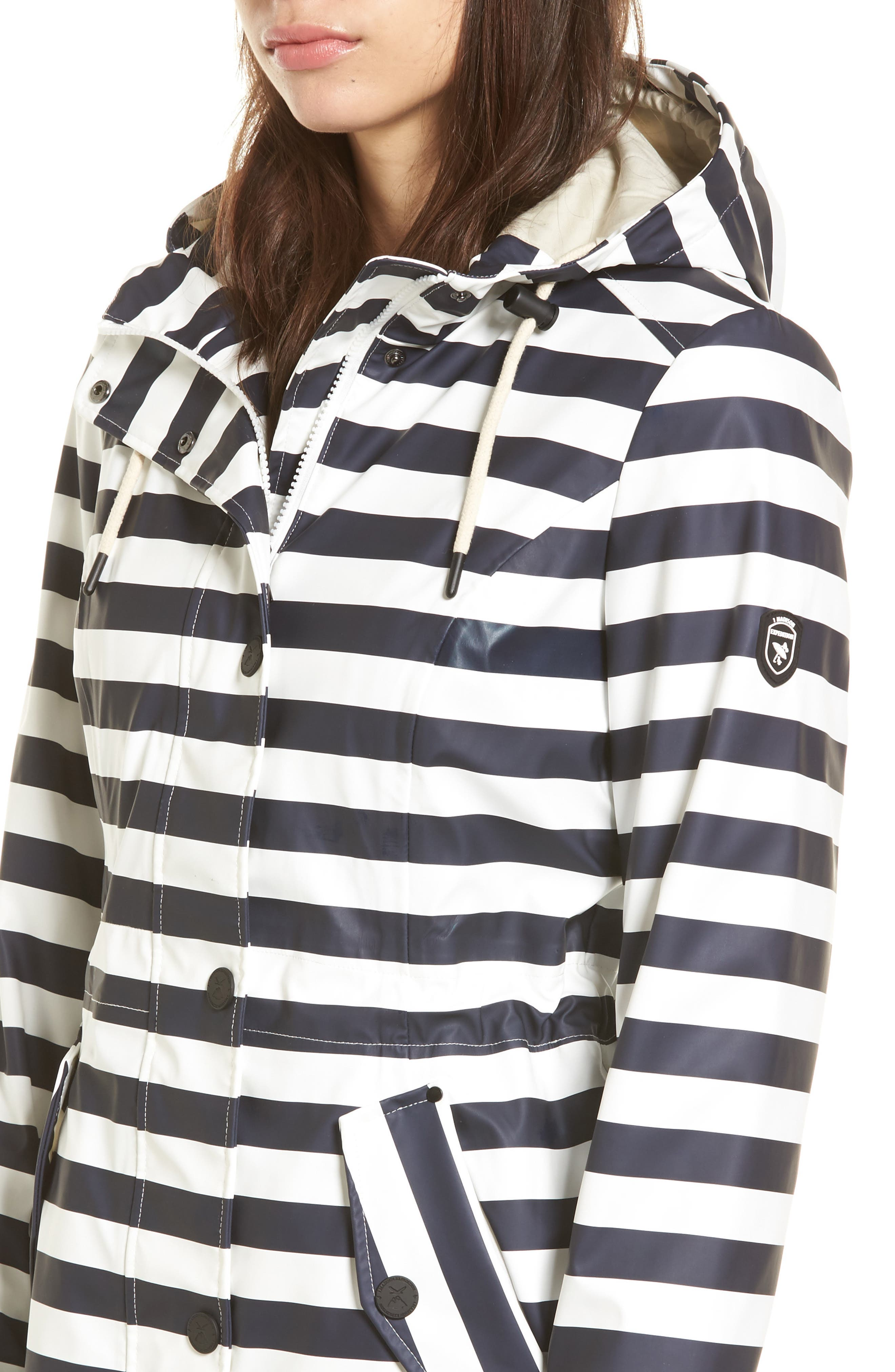 30 Stripe Hooded Raincoat,                             Alternate thumbnail 4, color,                             400