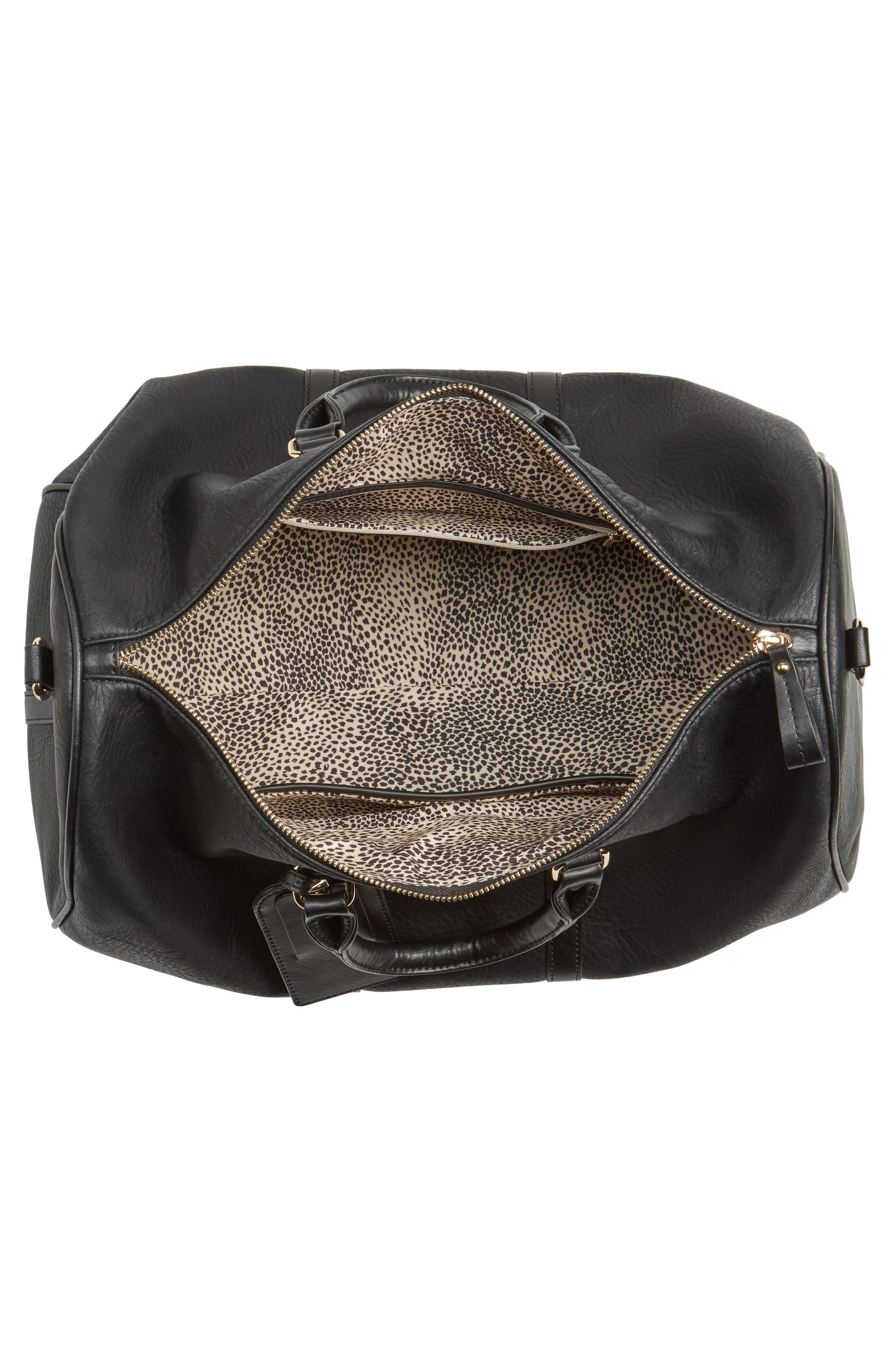 'Cassidy' Faux Leather Duffel Bag,                             Alternate thumbnail 4, color,                             002