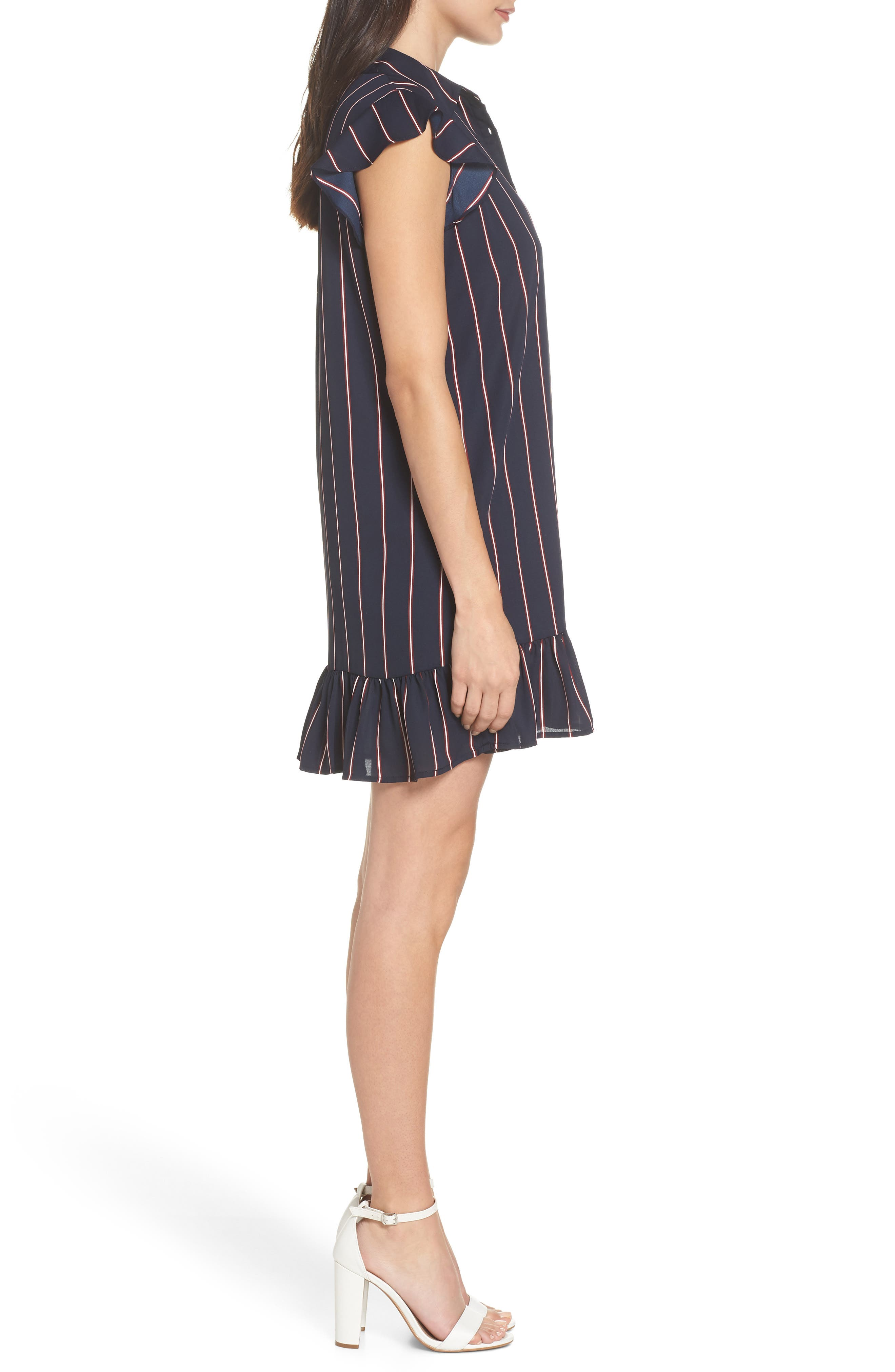 American Pie Stripe Shirtdress,                             Alternate thumbnail 3, color,                             MIDNIGHT SKY