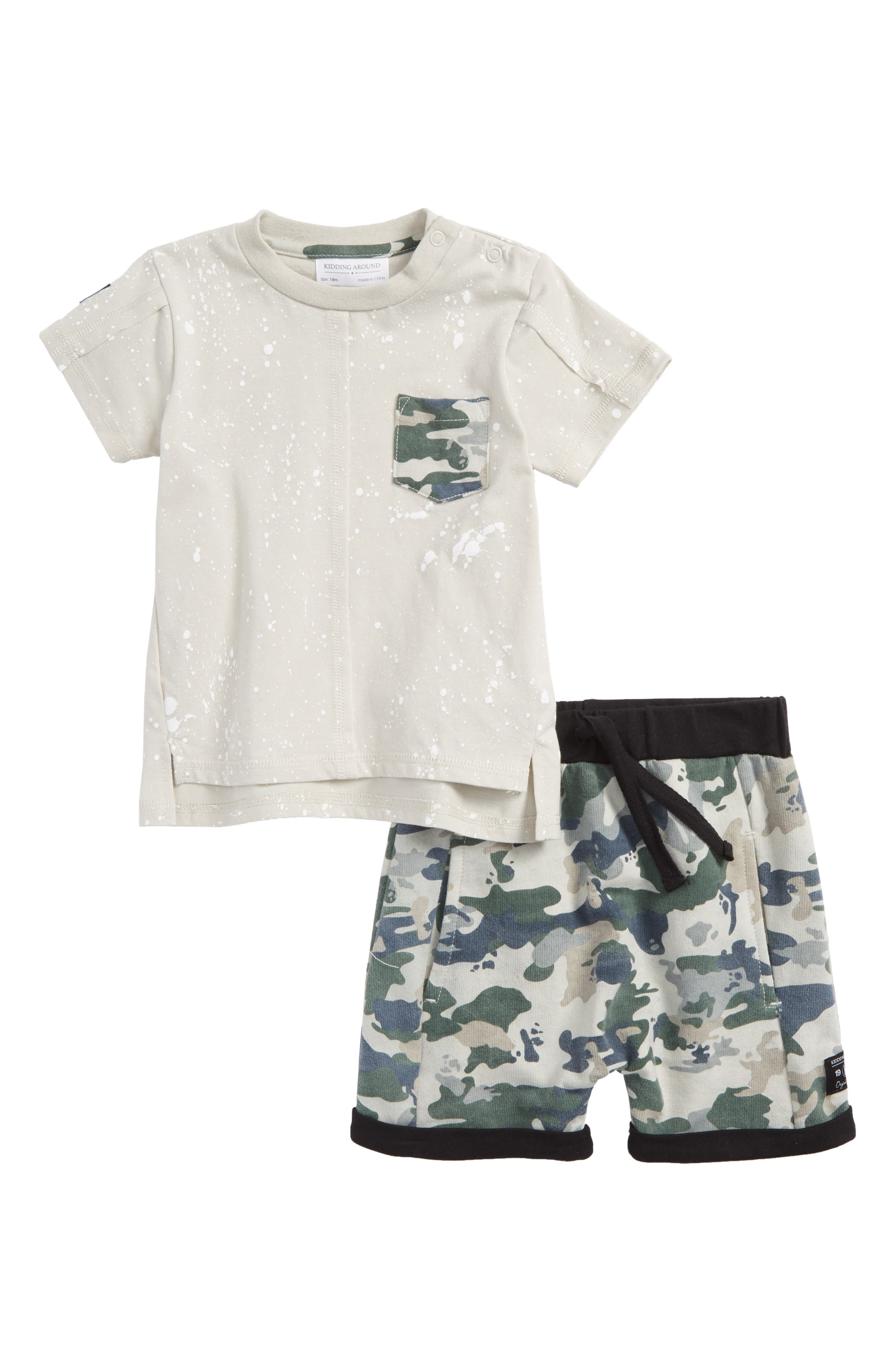 Pocket T-Shirt & Camo Shorts Set,                             Main thumbnail 1, color,                             020