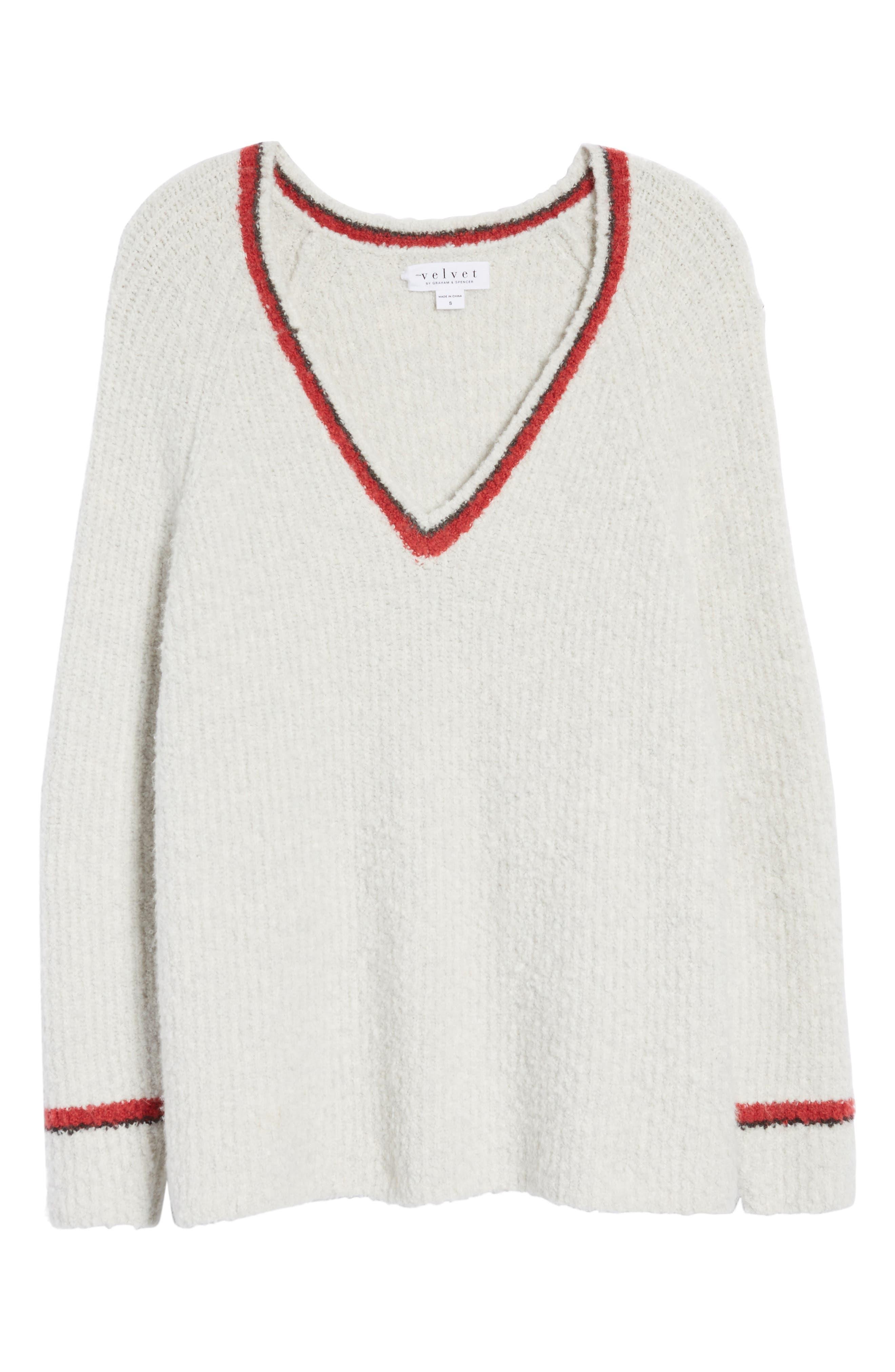 Bouclé V-neck Sweater,                             Alternate thumbnail 6, color,                             905
