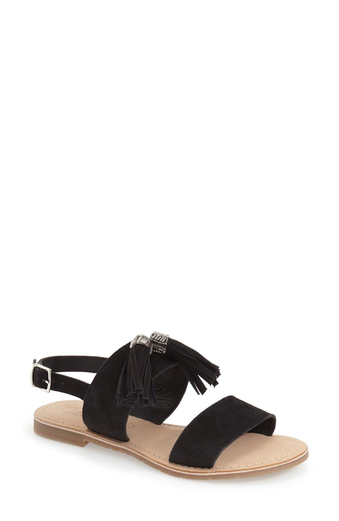 CALLISTO,                             'Anandi' Tassel Flat Sandal,                             Main thumbnail 1, color,                             001