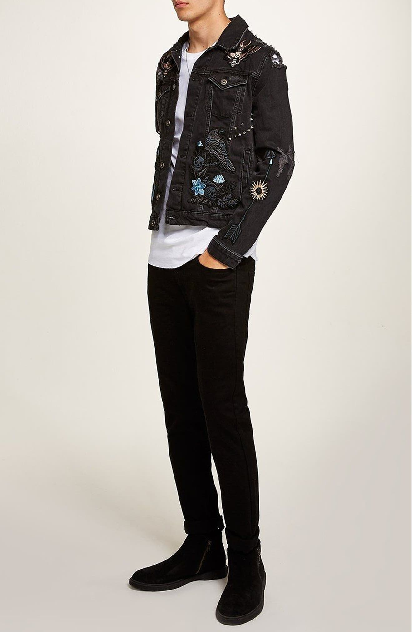 Sleepy Hollow Slim Fit Denim Jacket with Patches,                             Alternate thumbnail 5, color,                             001