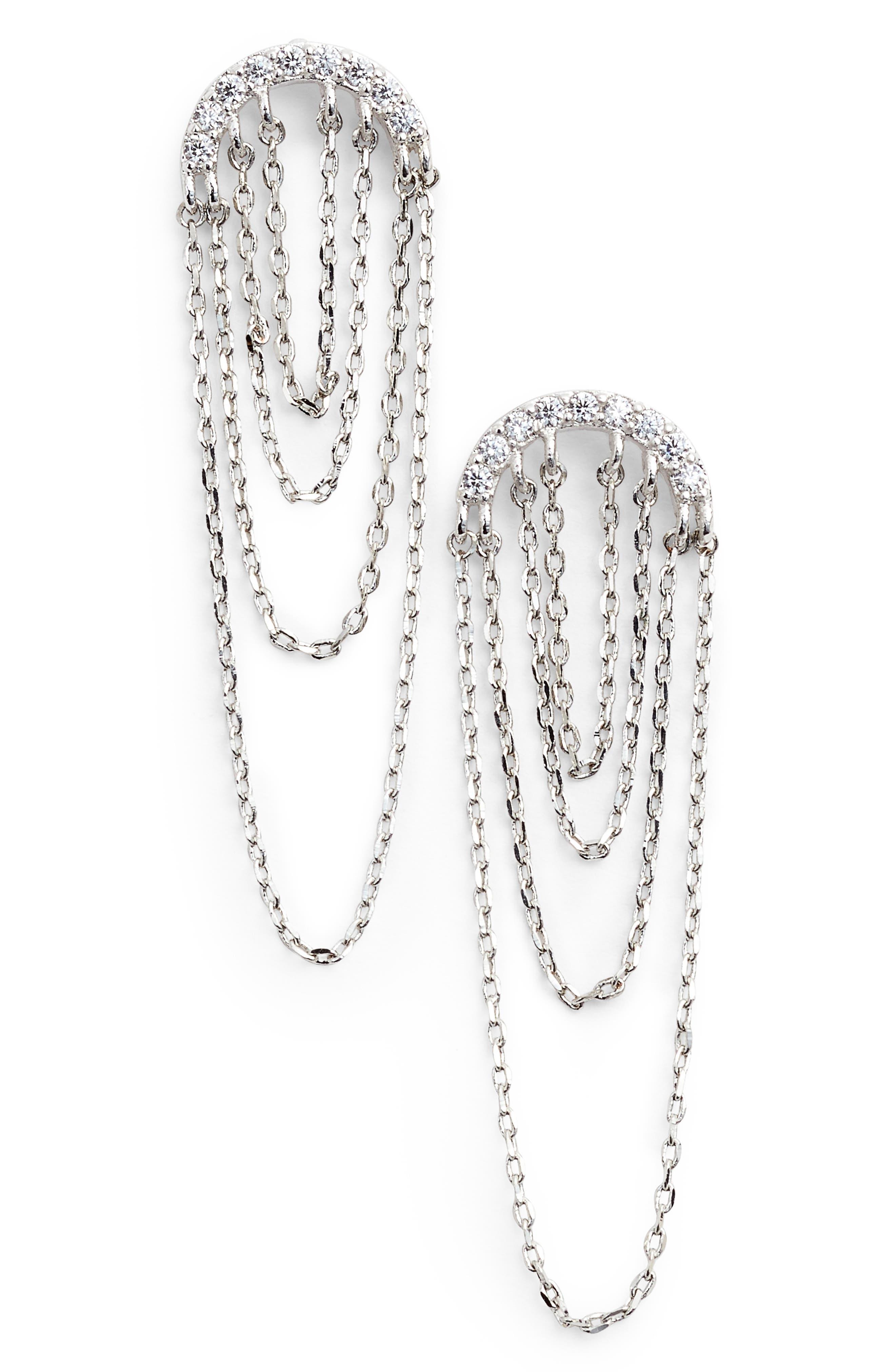 Pavé Arc Chain Drop Earrings,                             Main thumbnail 1, color,