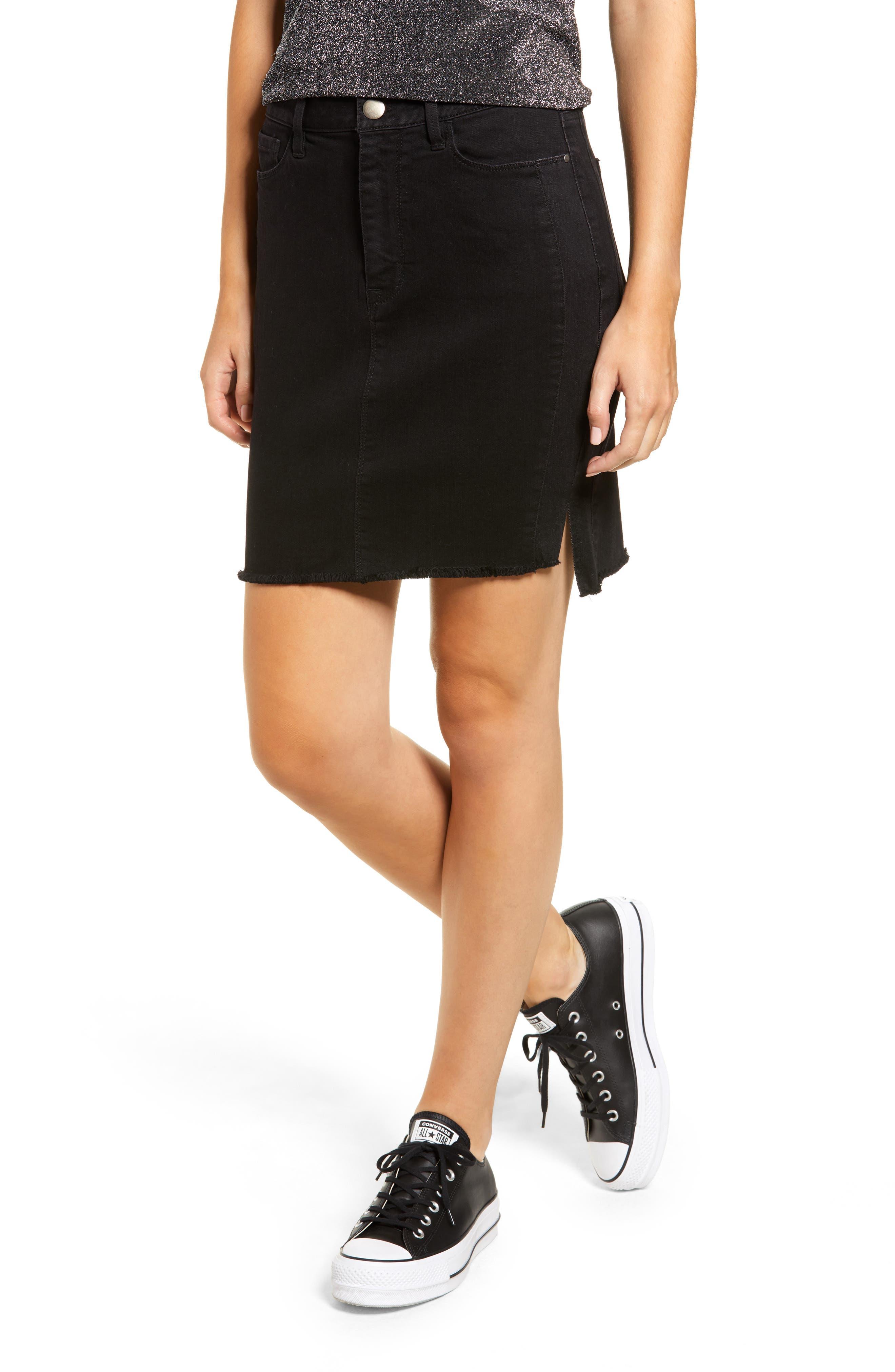 Tinsel Tuxedo Stripe Denim Skirt, Black