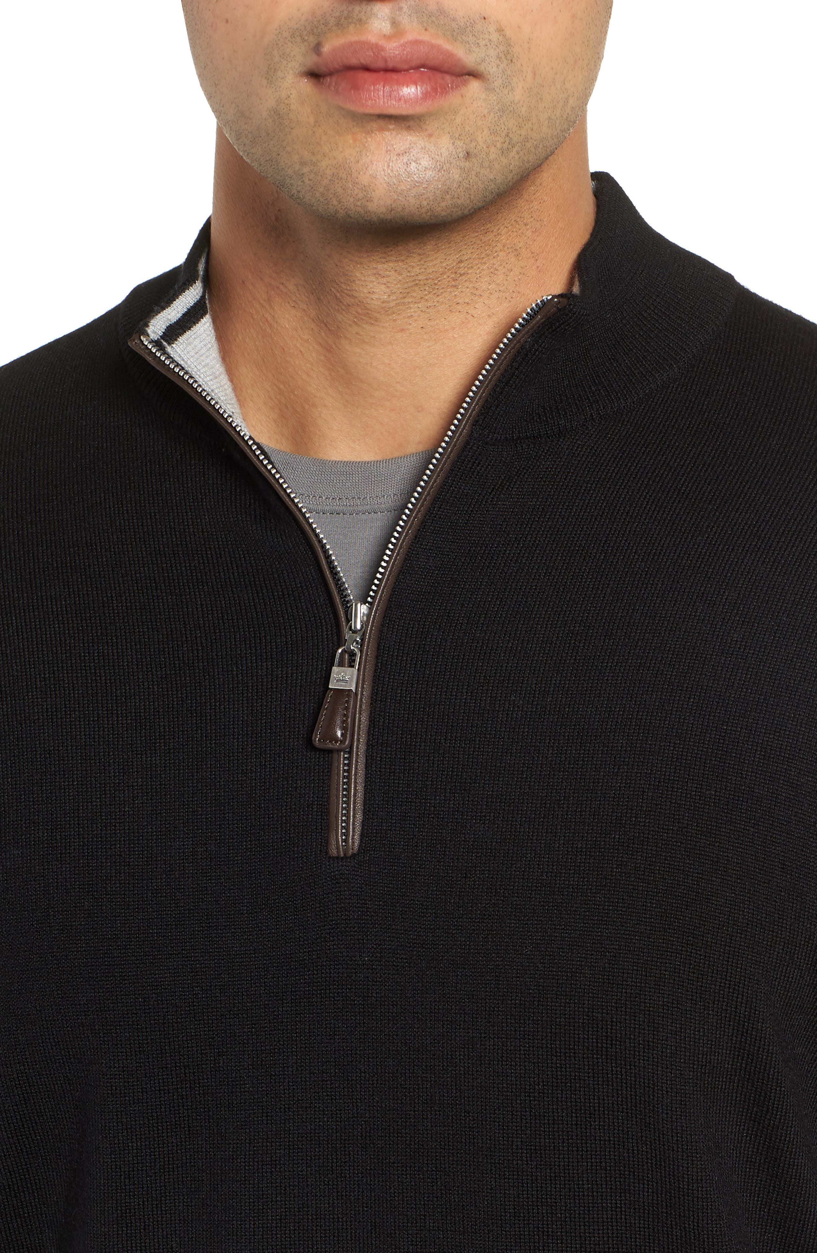 Crown Soft Wool Blend Quarter Zip Sweater,                             Alternate thumbnail 4, color,                             001